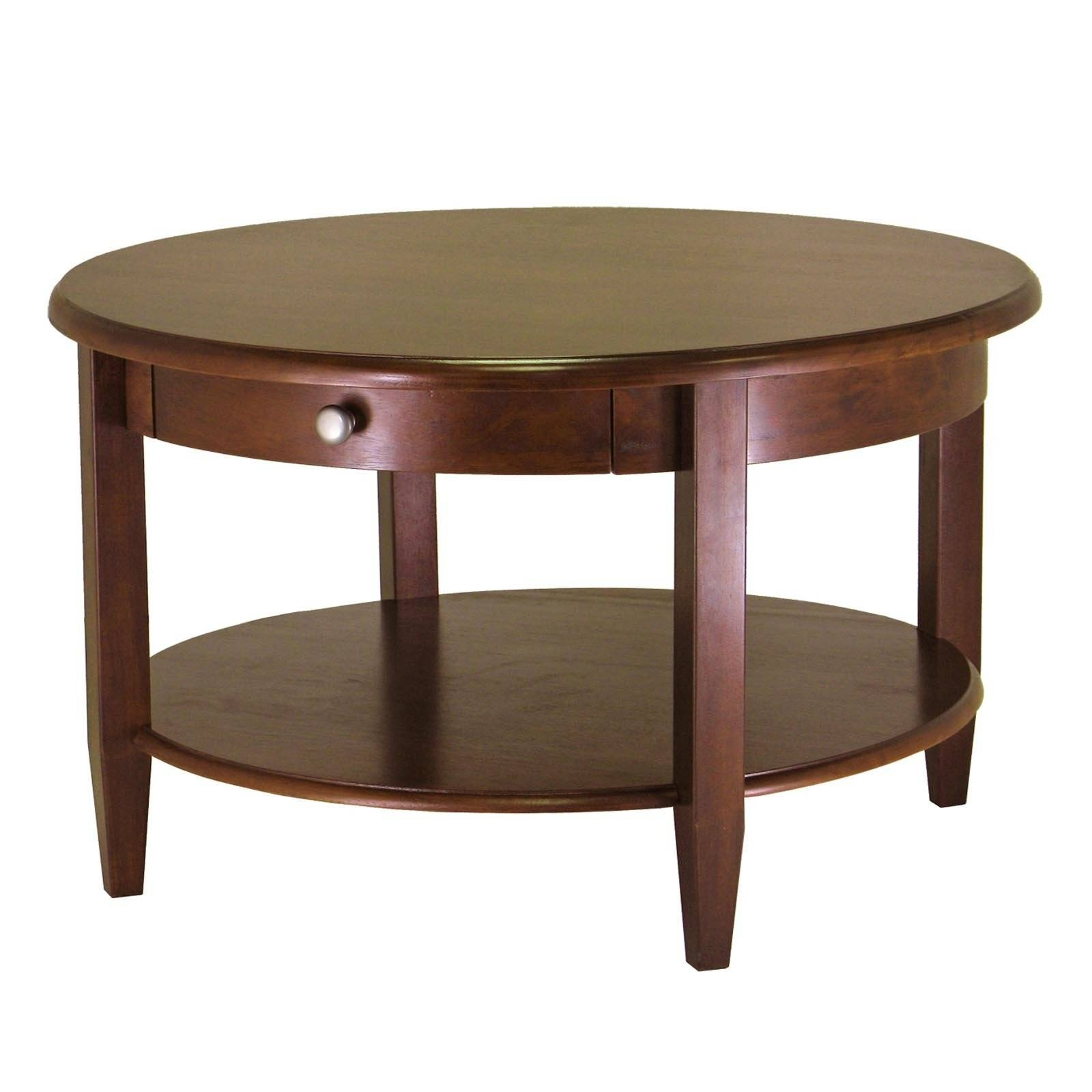 Elegant Stylish Round Coffee Table With Storage Dark Brown Finish throughout Coffee Tables With Shelves (Image 15 of 30)