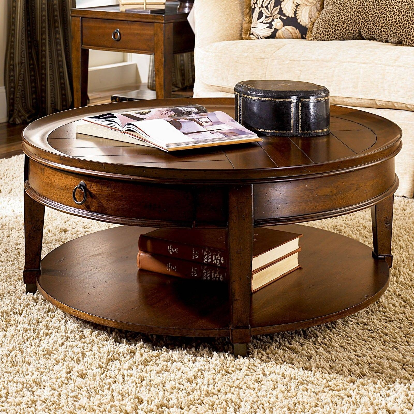 Elegant Stylish Round Coffee Table With Storage Dark Brown Finish throughout Round Coffee Tables With Drawers (Image 8 of 30)