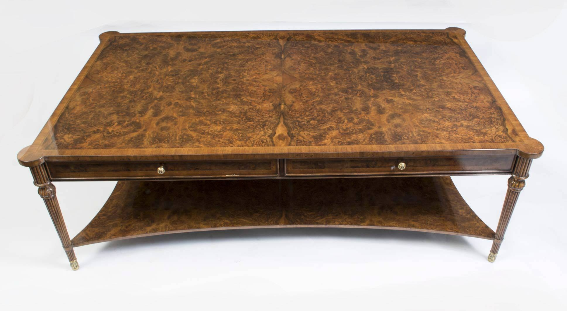 Elegant Walnut Coffee Table With Storage Drawer And Shelf in Coffee Tables With Shelf Underneath (Image 17 of 30)