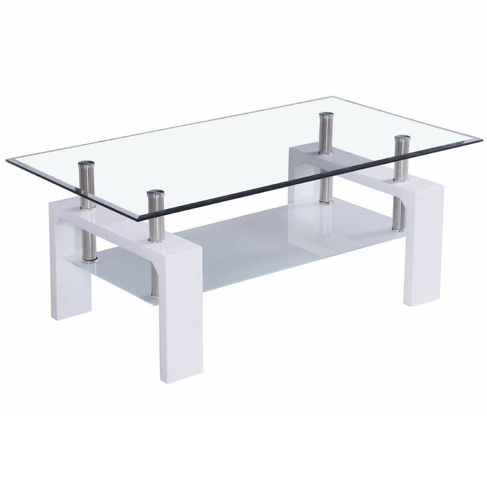 Elise Coffee Tables Rectangular Top White Walnut Black Glass with regard to Elise Coffee Tables (Image 11 of 30)