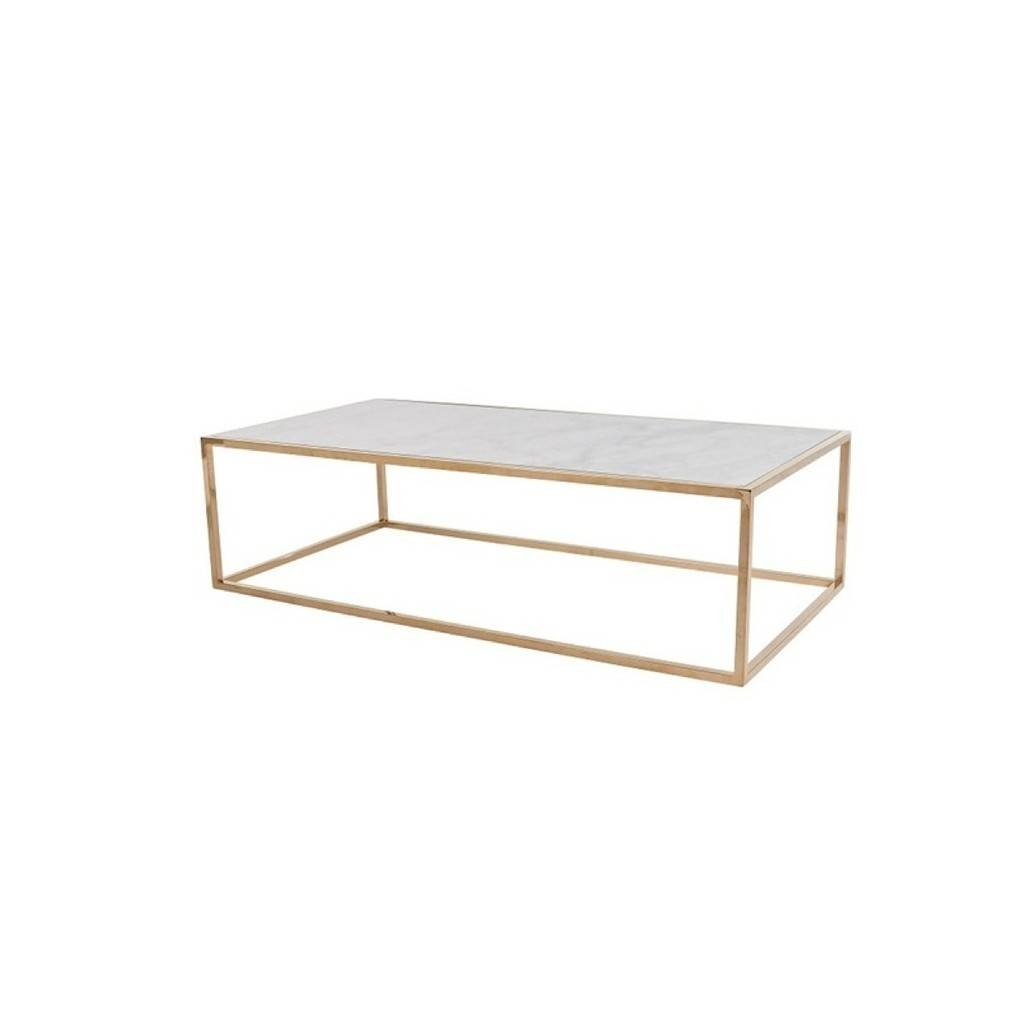 Photos White Cube Coffee Tables - Marble and brass end table