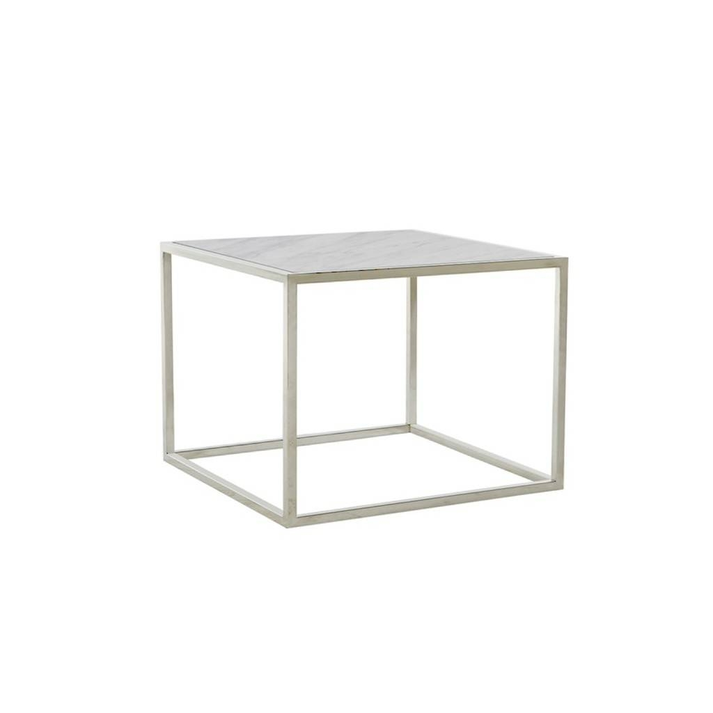 Elle Cube Side Table White Marble & Stainless | Tables | Bedroom intended for White Cube Coffee Tables (Image 20 of 30)
