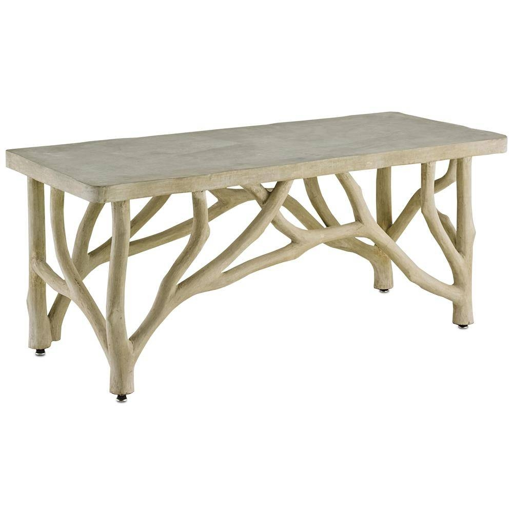 Elowen Rustic Lodge Concrete Birch Coffee Table | Kathy Kuo Home for Birch Coffee Tables (Image 8 of 30)