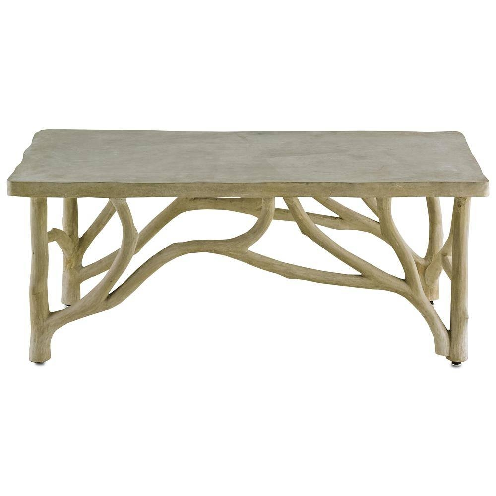 Elowen Rustic Lodge Concrete Birch Coffee Table | Kathy Kuo Home inside Birch Coffee Tables (Image 9 of 30)