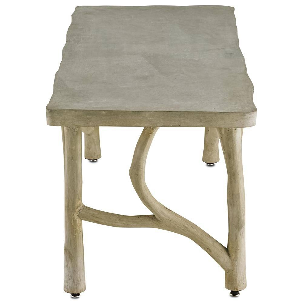 Elowen Rustic Lodge Concrete Birch Coffee Table | Kathy Kuo Home throughout Birch Coffee Tables (Image 11 of 30)