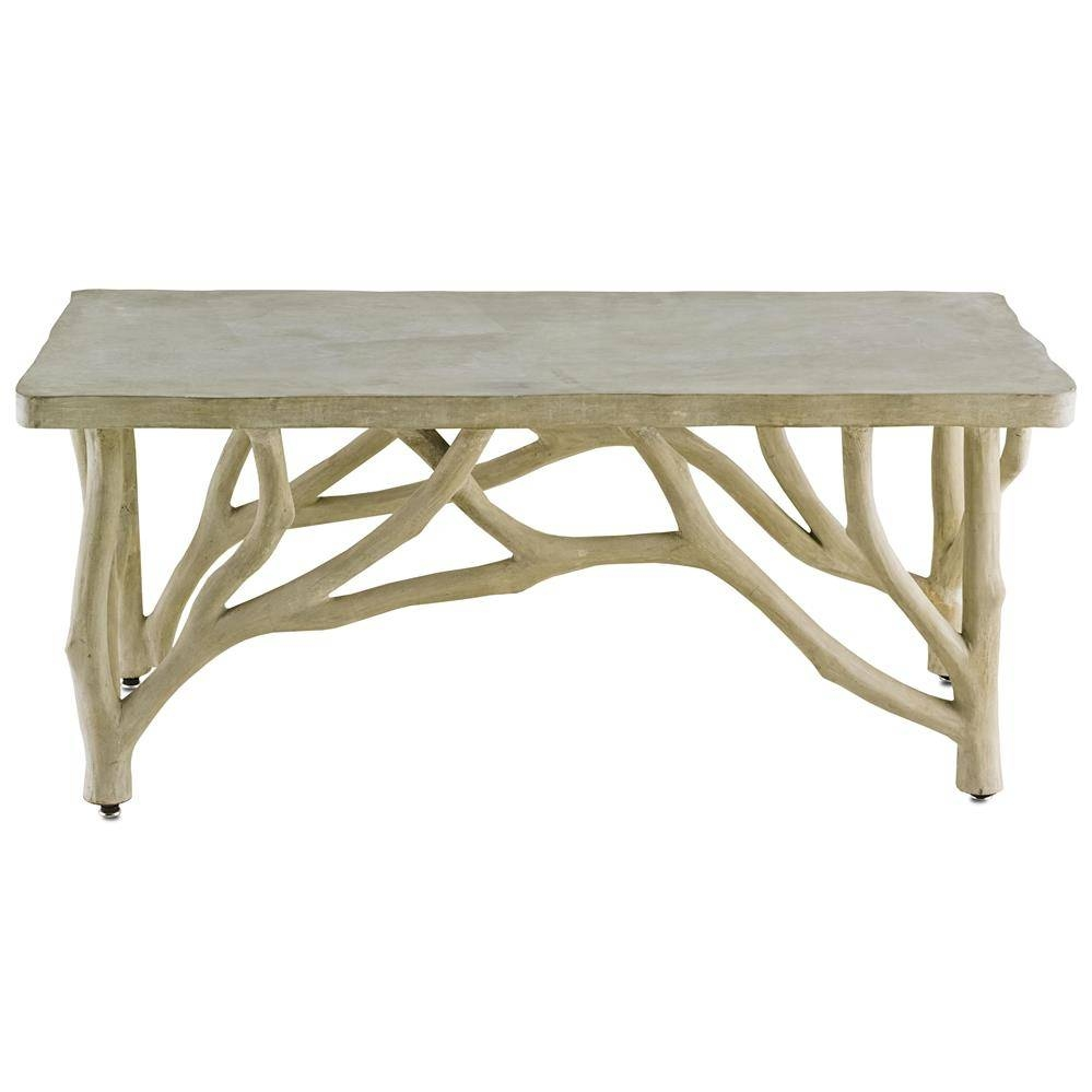 Elowen Rustic Lodge Concrete Birch Coffee Table | Kathy Kuo Home throughout Birch Coffee Tables (Image 10 of 30)