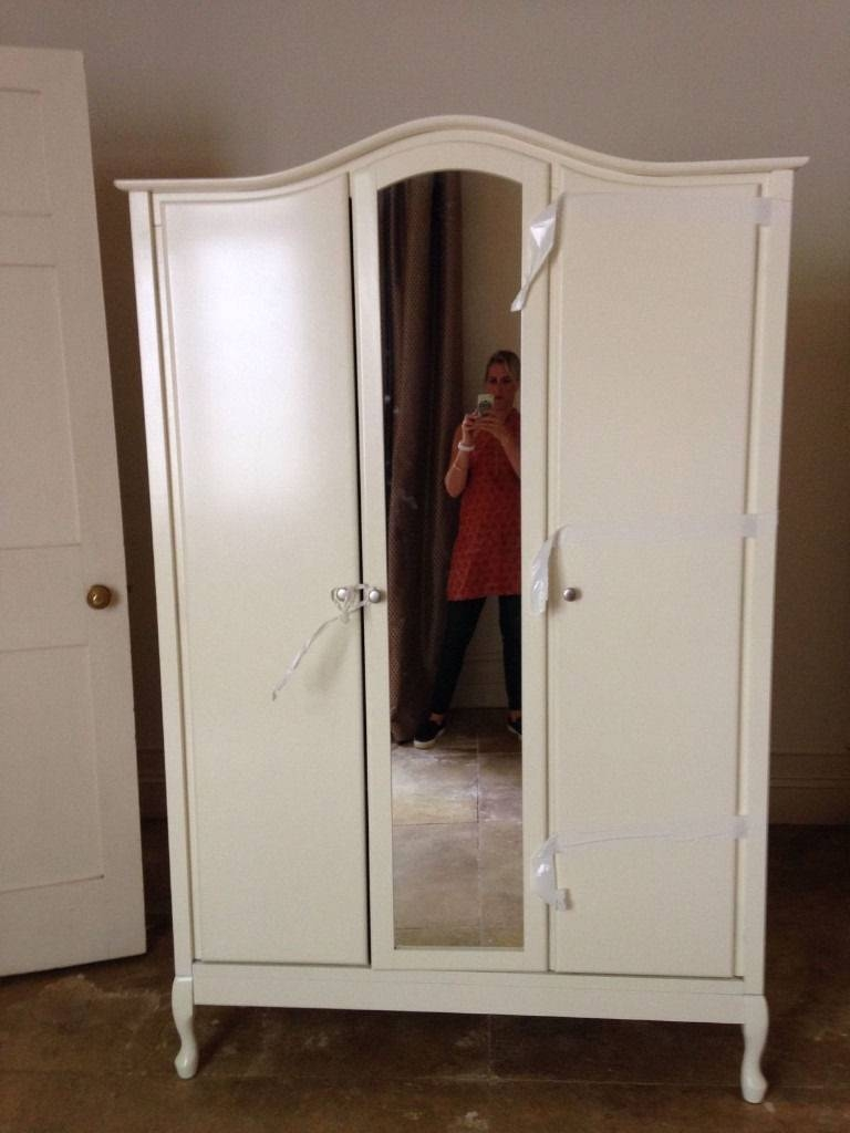 Elysee Cream Ivory Off White Large 3 Door Mirrored Wardrobe As New intended for Three Door Mirrored Wardrobes (Image 9 of 15)