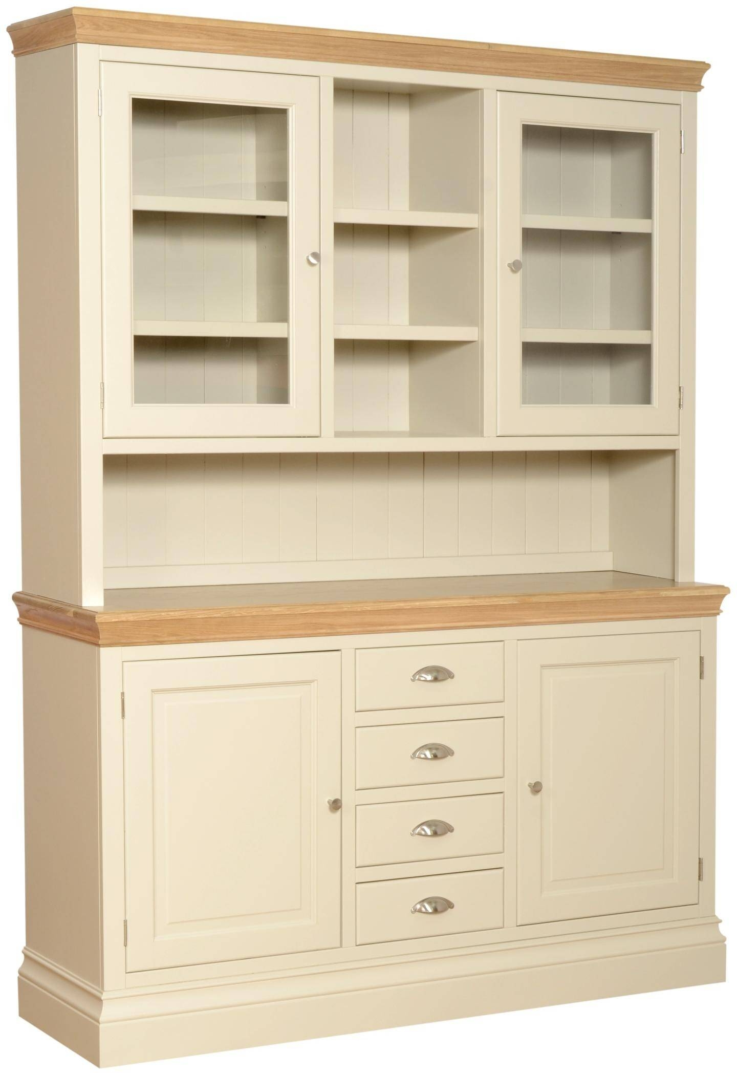 Emily 1.5M Sideboard With Glass Doors Dresser Top Painted With Oak Top for Sideboards With Glass Doors (Image 4 of 30)