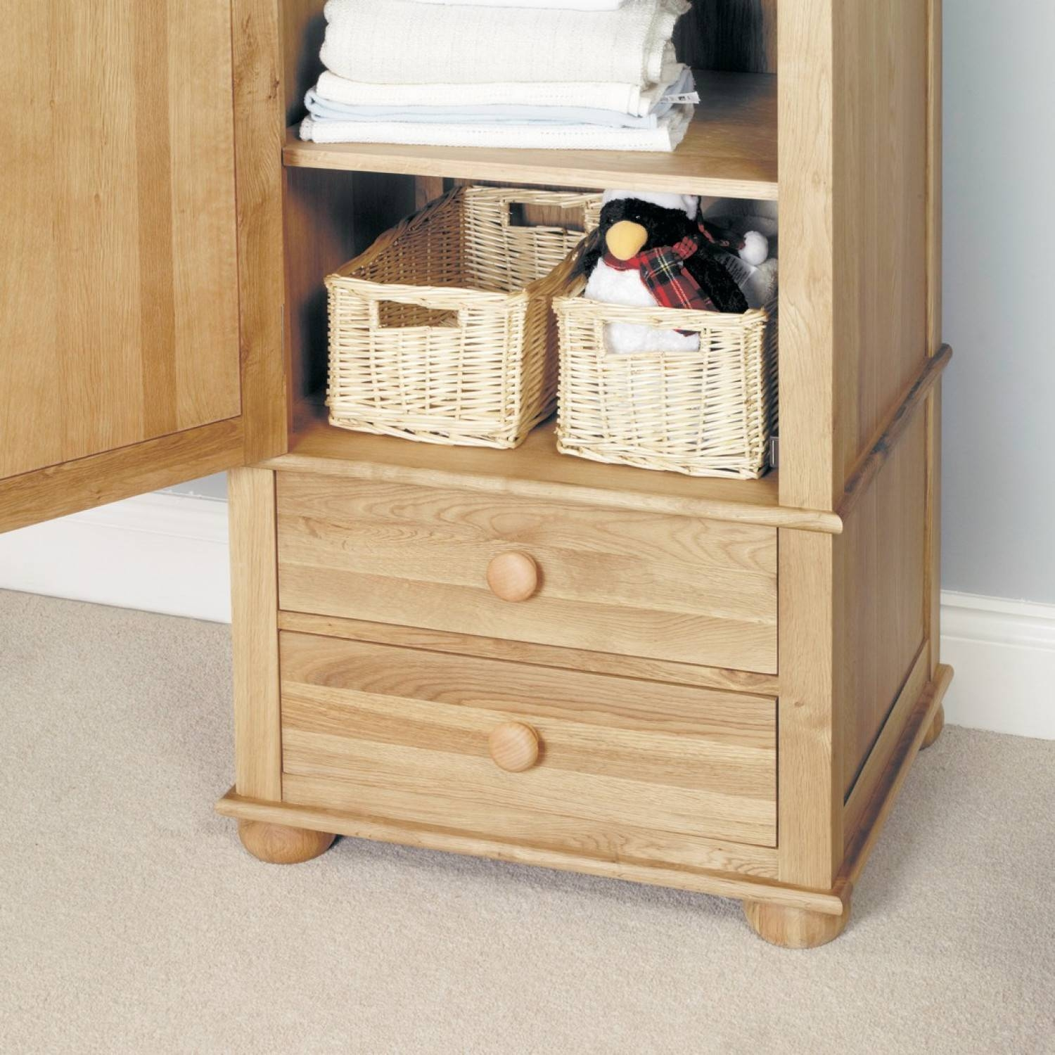 Emily Solid Oak Childrens Single Wardrobe with regard to Single Wardrobe With Drawers And Shelves (Image 14 of 30)