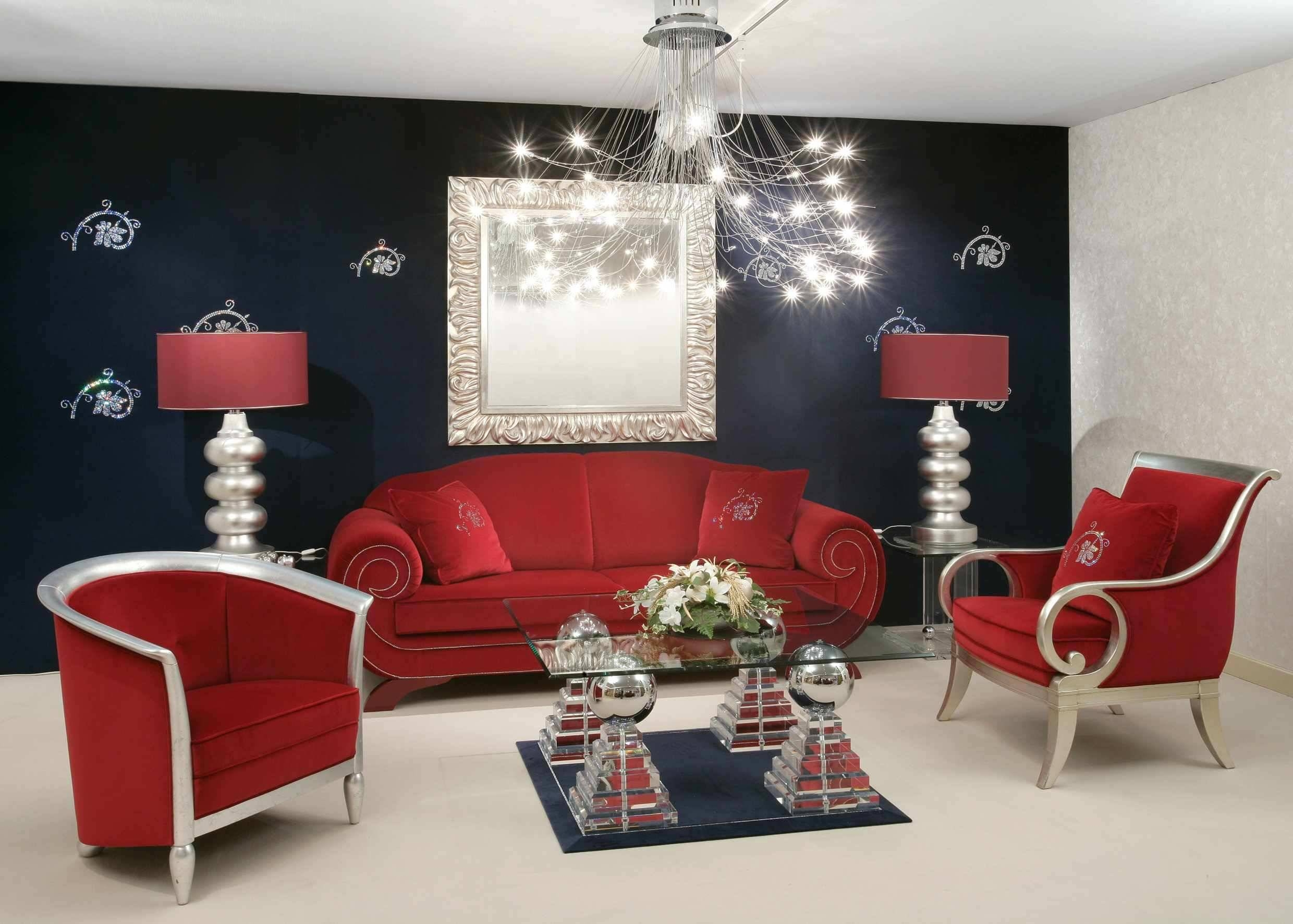 Enchanting Home Decor Ideas For Small Living Room With Red Sofa within Red Sofa Chairs (Image 7 of 30)