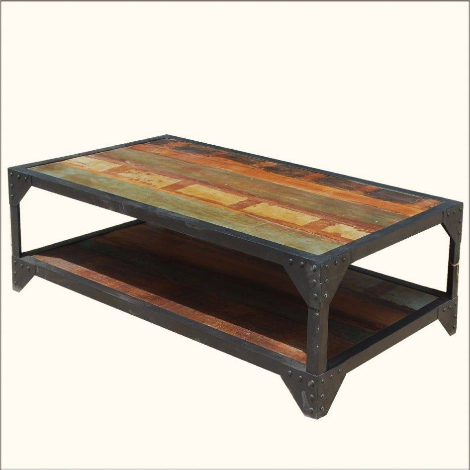Enchanting Round Brown Oak Wood Iron Industrial Coffee Table intended for Rustic Coffee Tables With Bottom Shelf (Image 19 of 30)