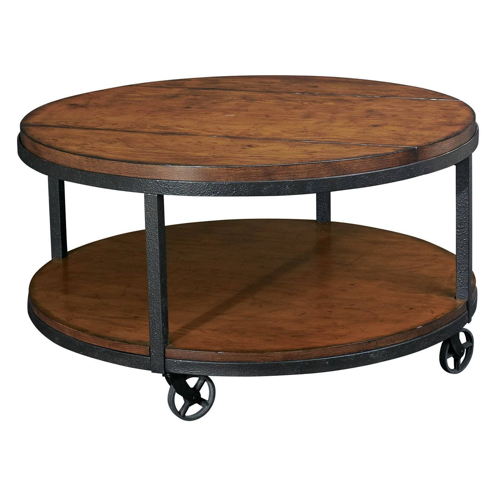 Enchanting Round Brown Oak Wood Iron Industrial Coffee Table within Rustic Coffee Tables With Bottom Shelf (Image 20 of 30)