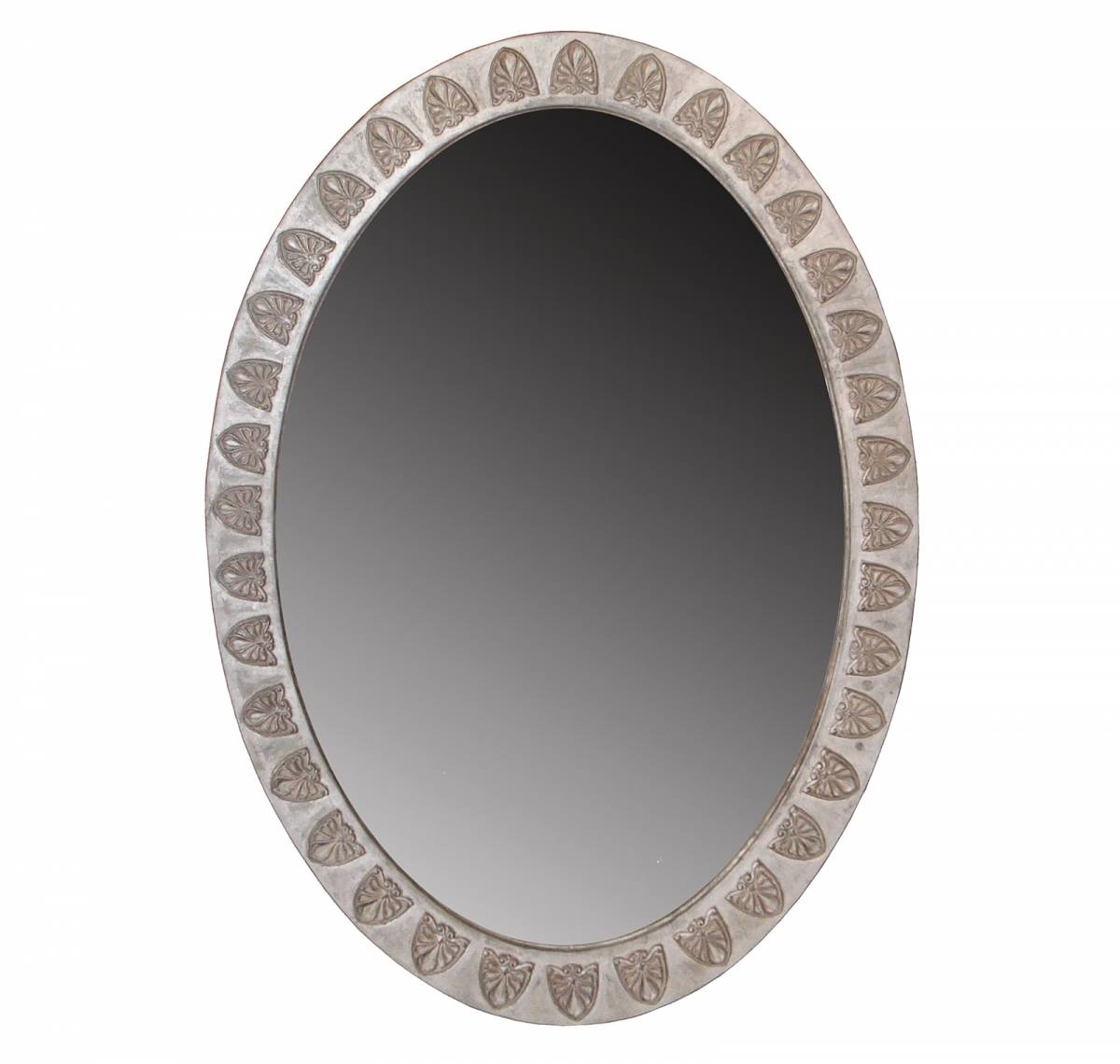 English Georgian | A53 Anthemion Oval Mirror | Hand Carved | Silver With Regard To Silver Oval Mirrors (View 9 of 25)
