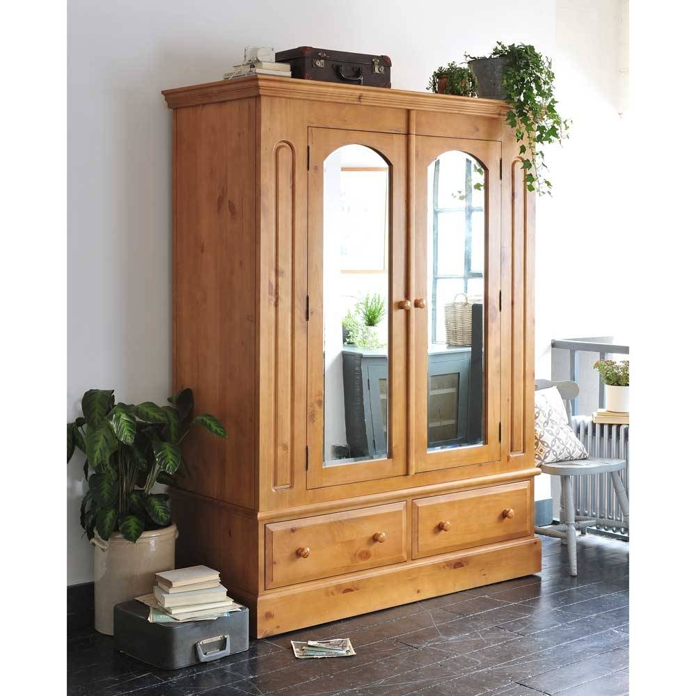 English Heritage Pine Wardrobe 2 Door Including Free Delivery throughout Double Wardrobes With Mirror (Image 4 of 15)
