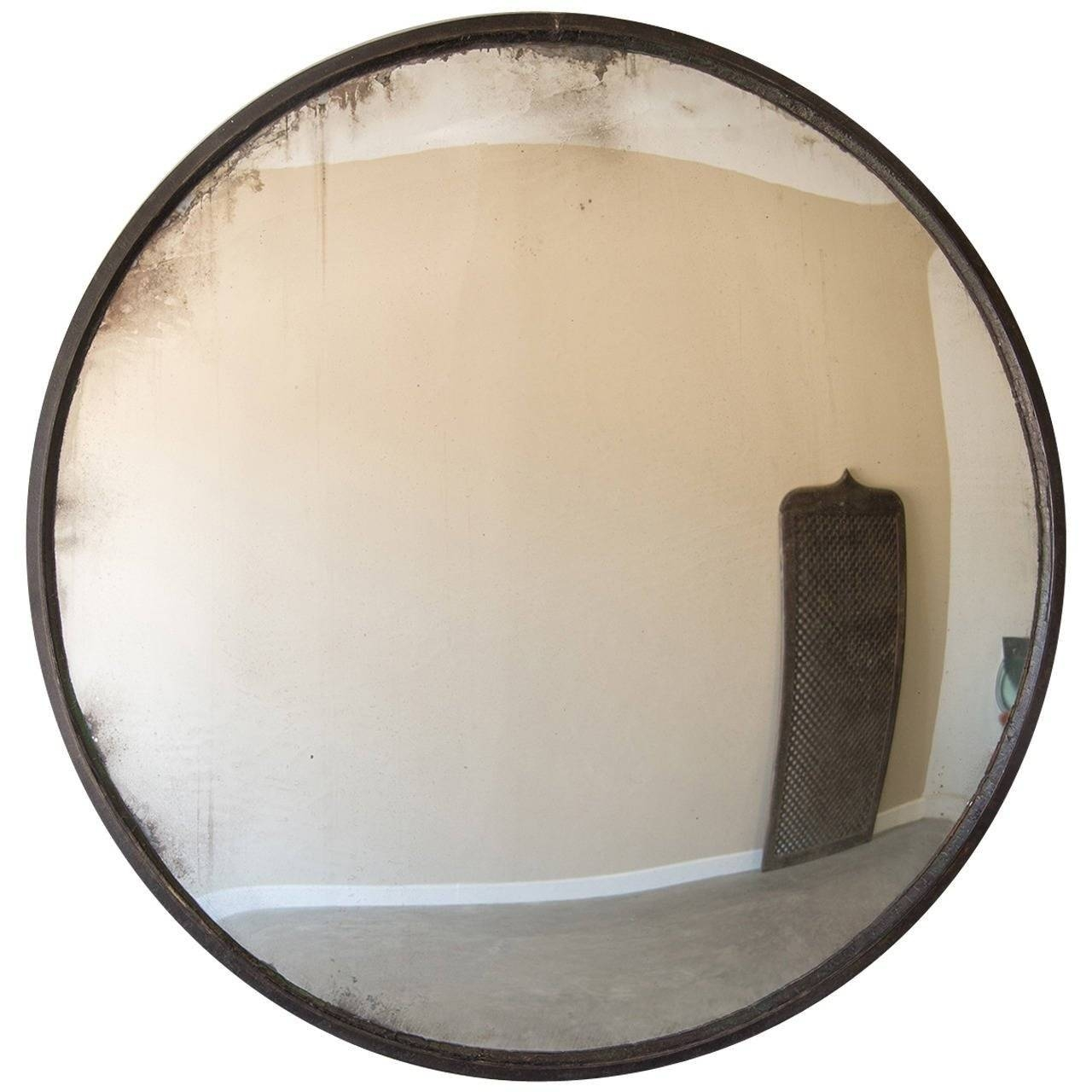 Enormous Industrial Iron Frame Convex Mirror, France Circa 1940 with regard to Round Convex Mirrors (Image 11 of 25)