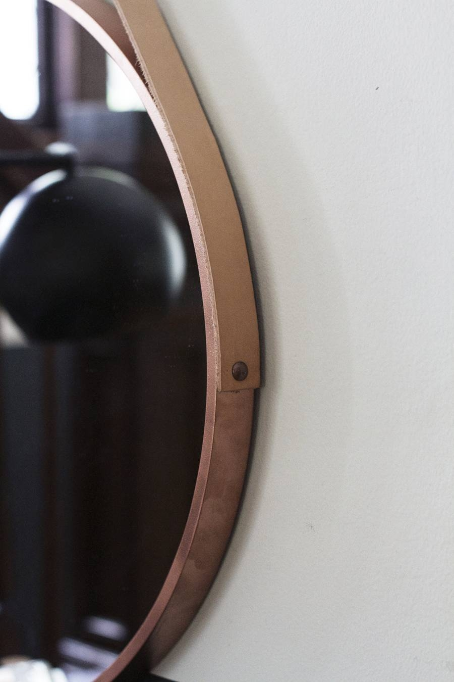 round leather mirror leather strap uk entryway makeover diy round leather strap mirror in mirrors image 10 of 25 photos