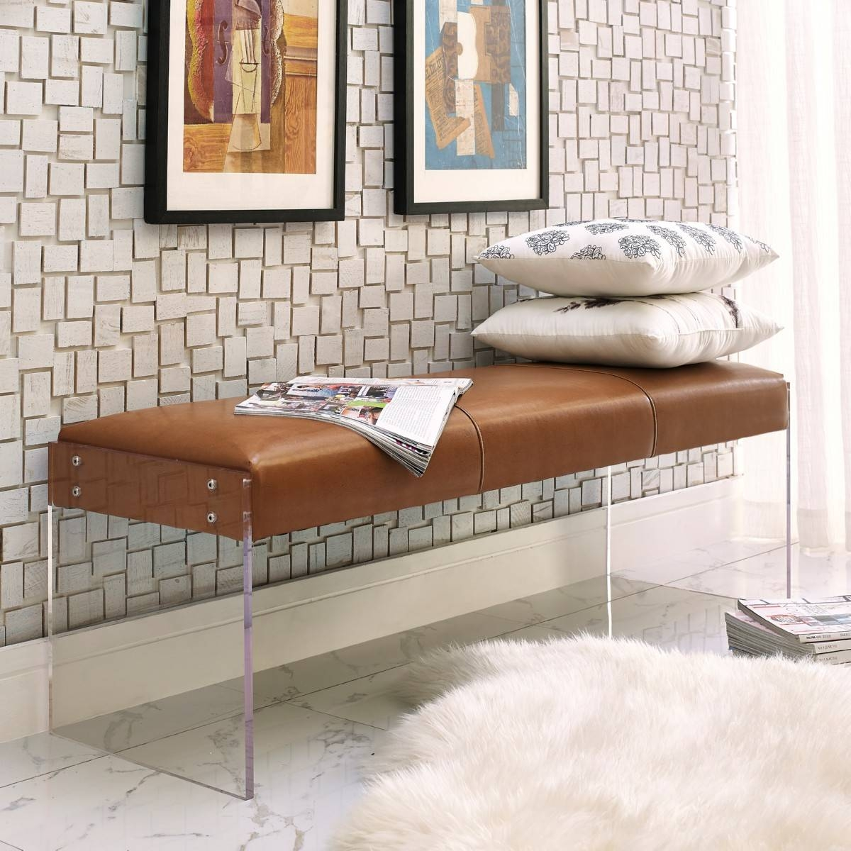 Envy Bench | Leather/acrylic, Tov Furniture - Modern Manhattan for Leather Bench Sofas (Image 8 of 30)