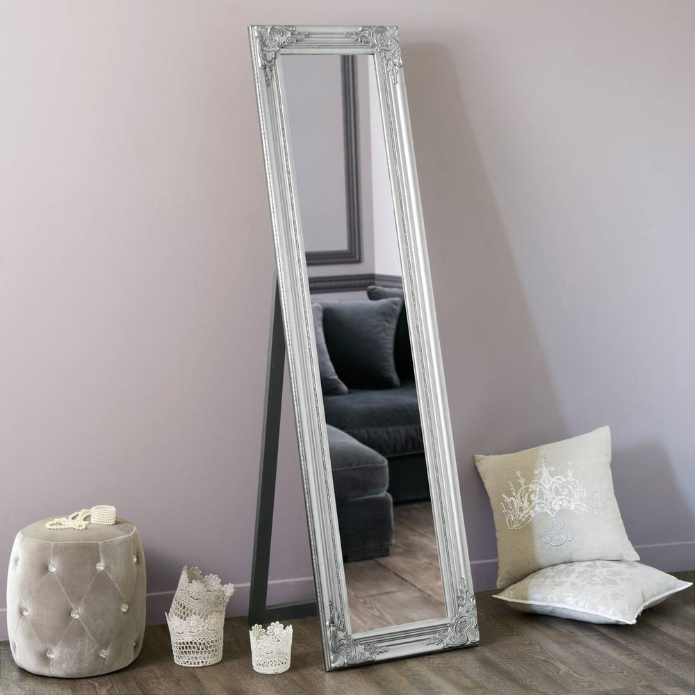 Enzo Silver Cheval Mirror H 164 Cm | Maisons Du Monde in Silver Cheval Mirrors (Image 10 of 25)