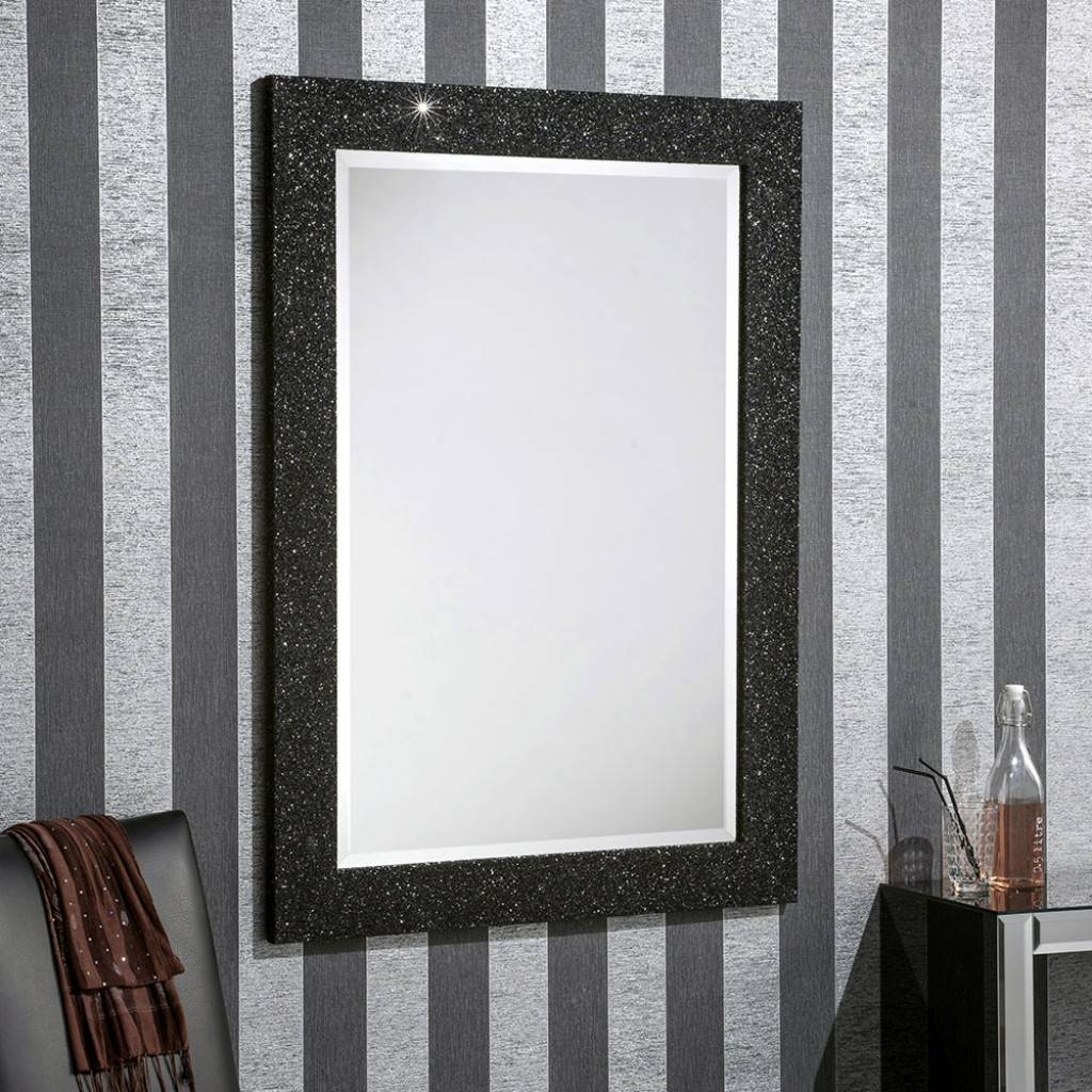 Epping Black Glitter - Buy A Mirror Uk regarding Silver Glitter Mirrors (Image 12 of 25)