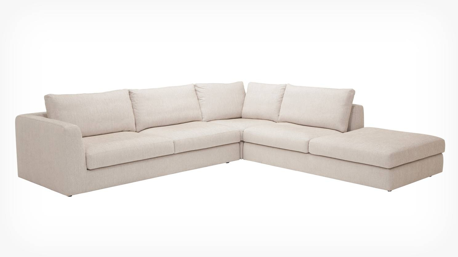 Eq3 | Cello 3 Piece Sectional Sofa With Backless Chaise – Fabric Pertaining To Backless Chaise Sofa (View 12 of 30)