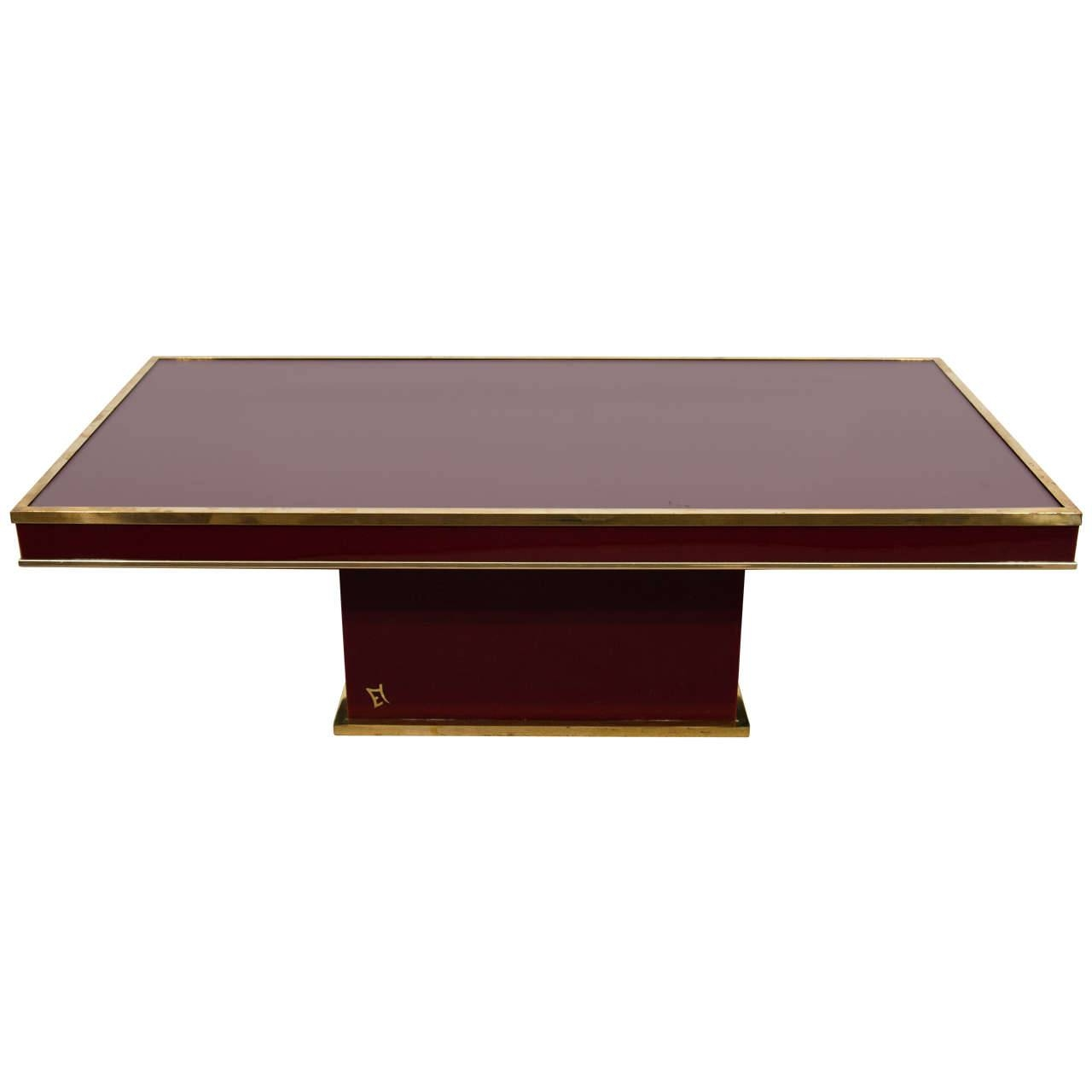 Eric Maville Modern Bordeaux Lacquered And Brass Coffee Table throughout Bordeaux Coffee Tables (Image 14 of 30)