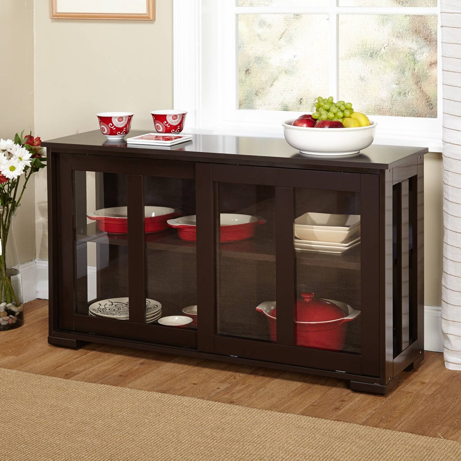 Espresso Buffet Cabinet | Home Appliances Decoration inside Glass Sideboards for Dining Room (Image 8 of 30)