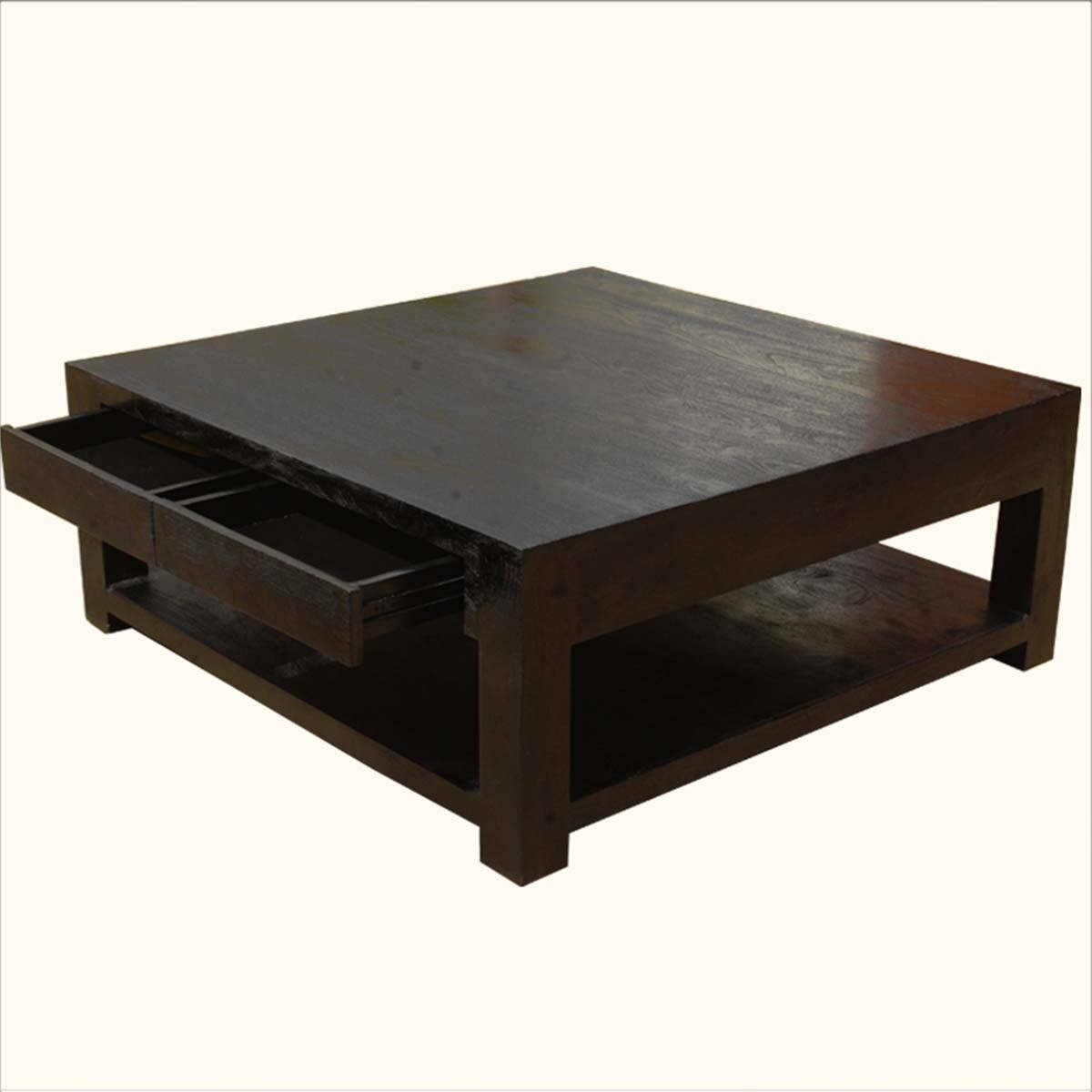 Espresso Solid Wood Coffee Table | Coffee Tables Decoration intended for Square Dark Wood Coffee Tables (Image 14 of 30)