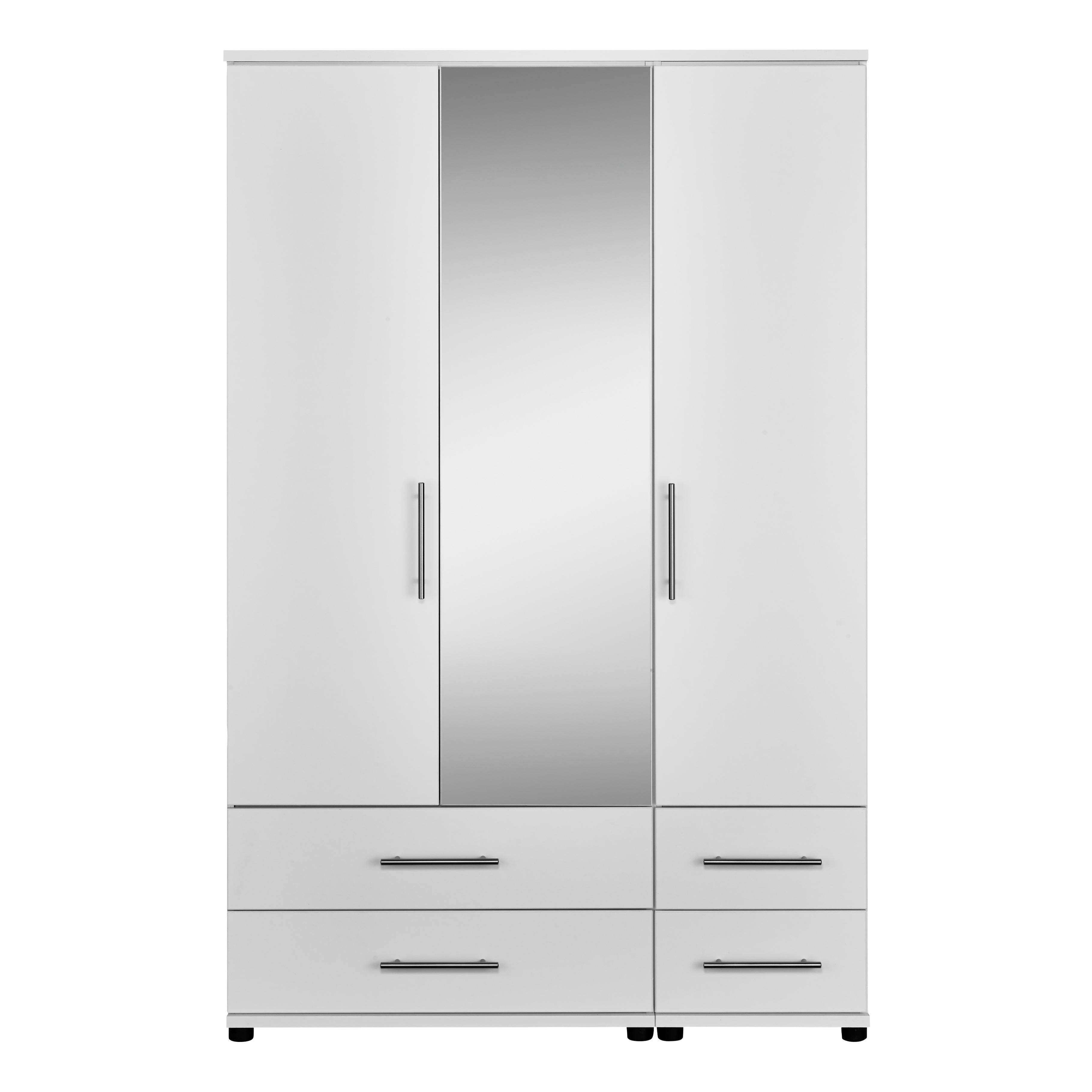 Essential 3 Door 4 Drawer Mirrored Wardrobe | Contemporary Bedroom in White 3 Door Wardrobes With Drawers (Image 5 of 15)