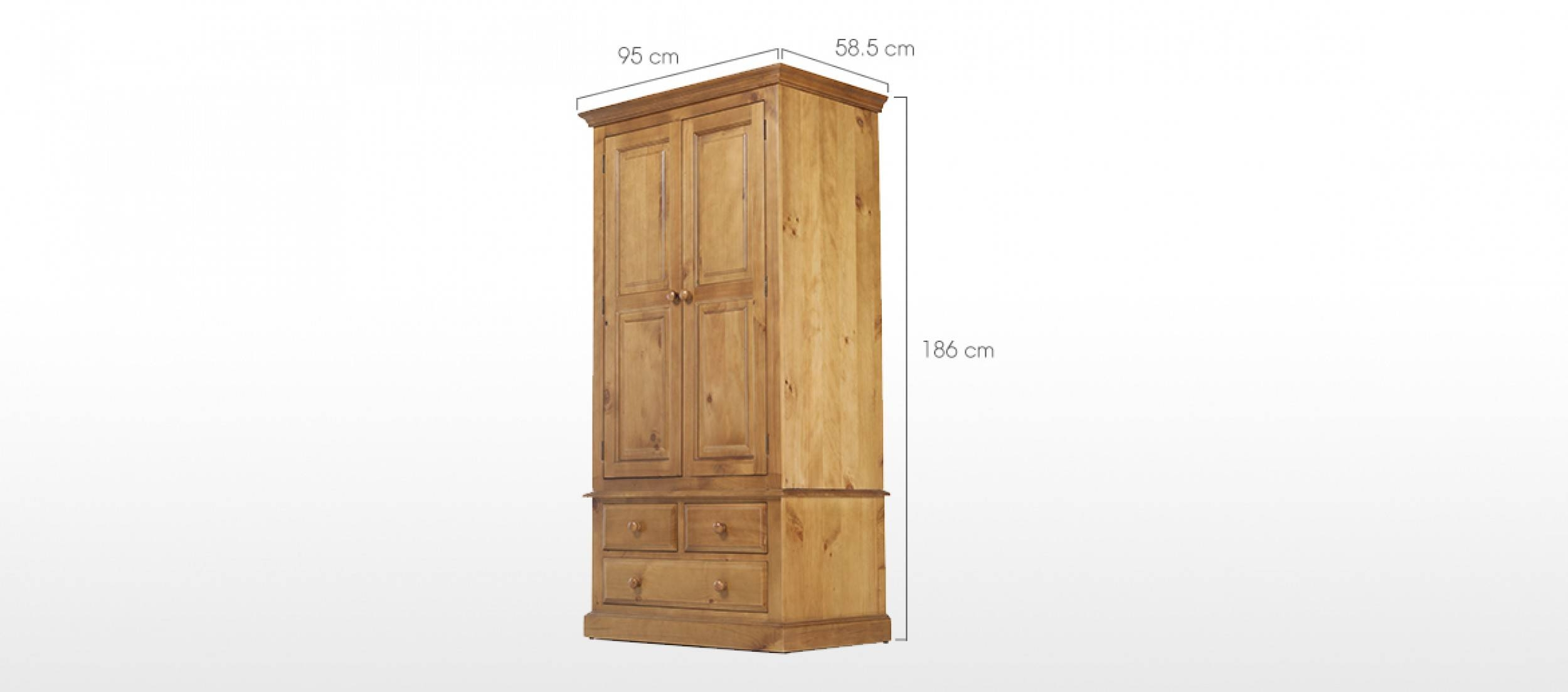 Essentials Pine Gents Double Wardrobe | Quercus Living for Double Pine Wardrobes (Image 10 of 15)