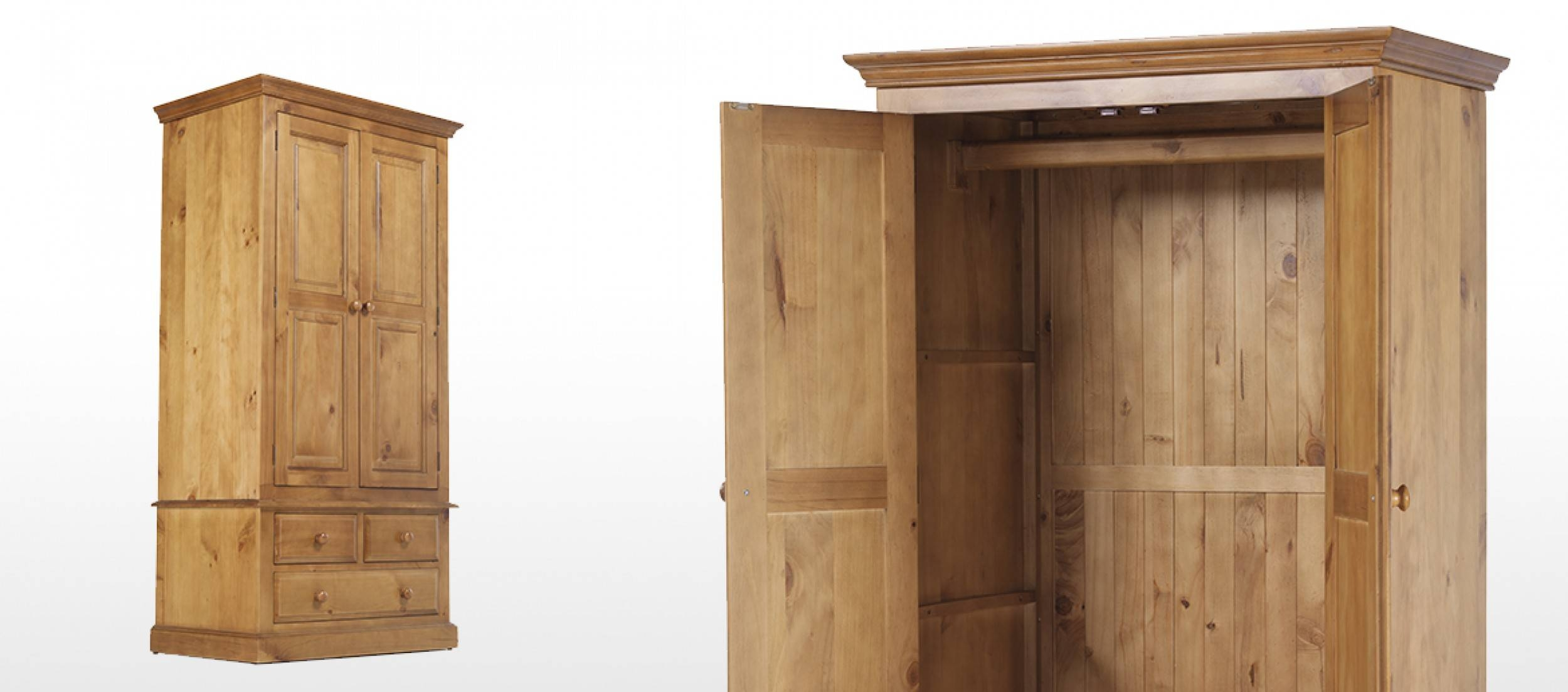 Essentials Pine Gents Double Wardrobe | Quercus Living throughout Pine Double Wardrobes (Image 7 of 15)