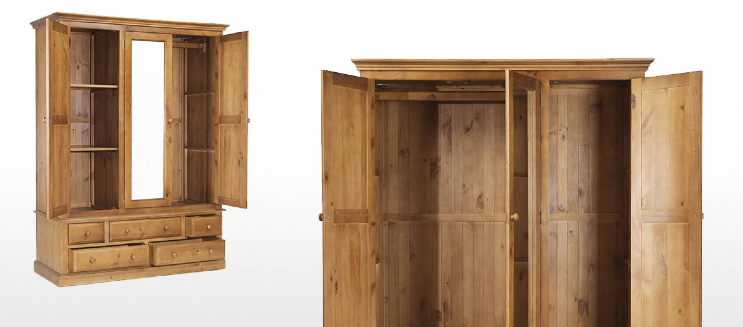 Essentials Pine Triple Wardrobe With Drawers | Quercus Living intended for Pine Wardrobe With Drawers and Shelves (Image 14 of 30)