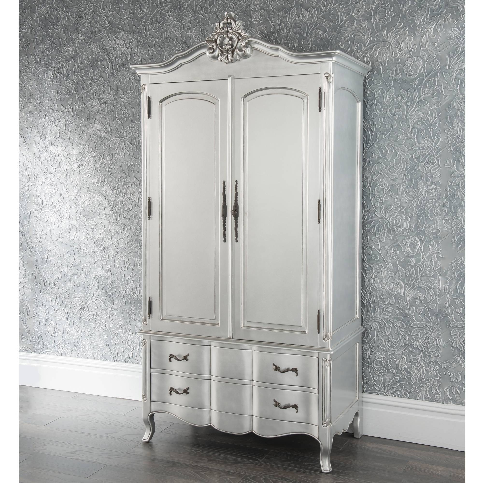 Estelle Antique French Style Wardrobe | French Style Furniture with regard to Silver Wardrobes (Image 7 of 15)