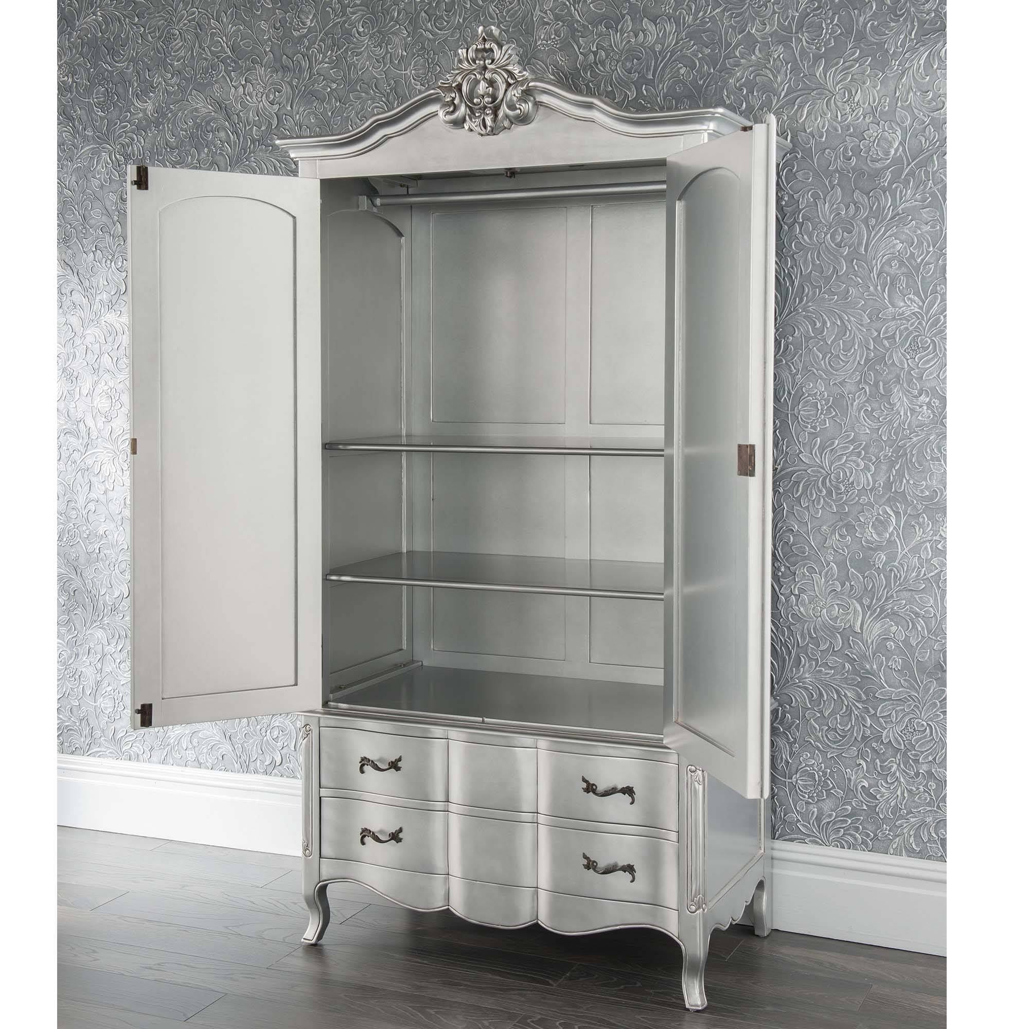 Estelle Antique French Style Wardrobe | Shabby Chic within Black French Style Wardrobes (Image 5 of 15)