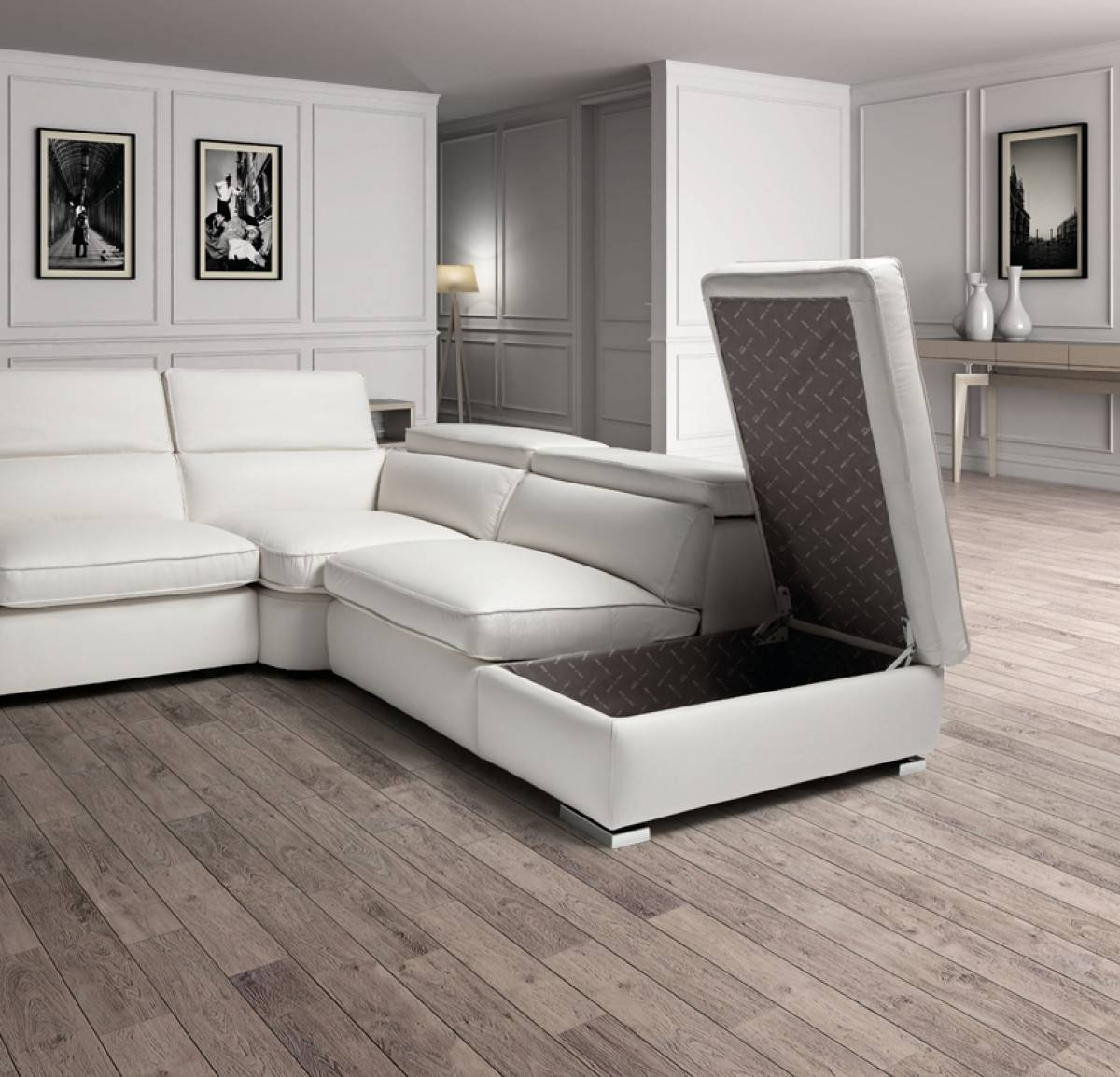 Estro Salotti Vertigo Modern White Leather Sectional Sofa W for Leather Storage Sofas (Image 8 of 30)