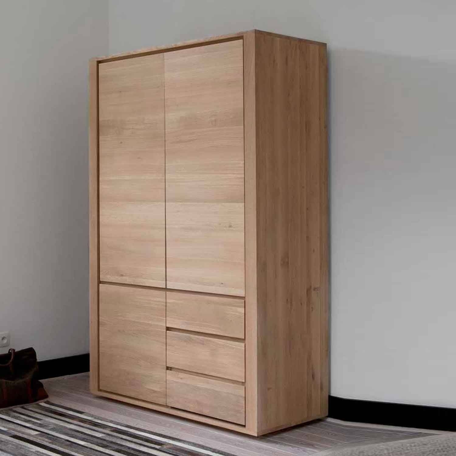Ethnicraft Oak Shadow Dresser - 3 Doors 2 Drawers inside Cheap Solid Wood Wardrobes (Image 2 of 15)