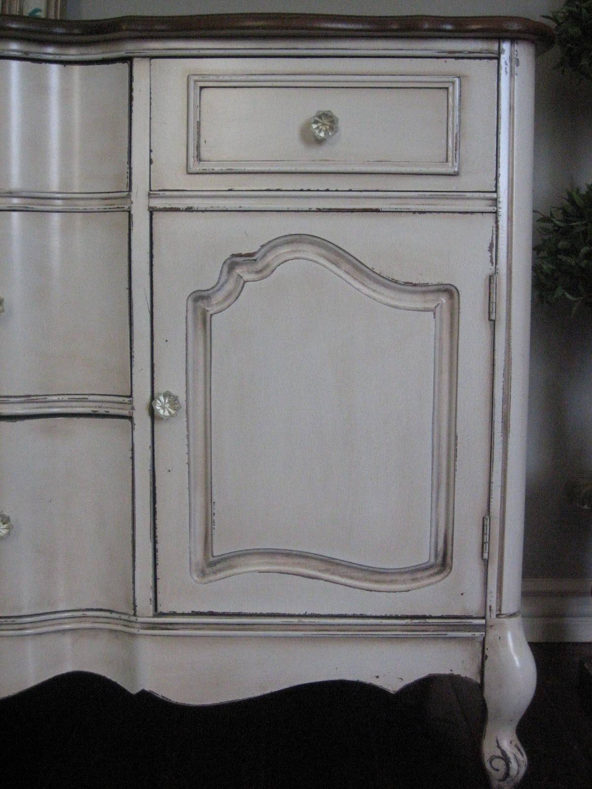 European Paint Finishes: Bowed French Buffet ~ with White Distressed Finish Sideboards (Image 17 of 30)