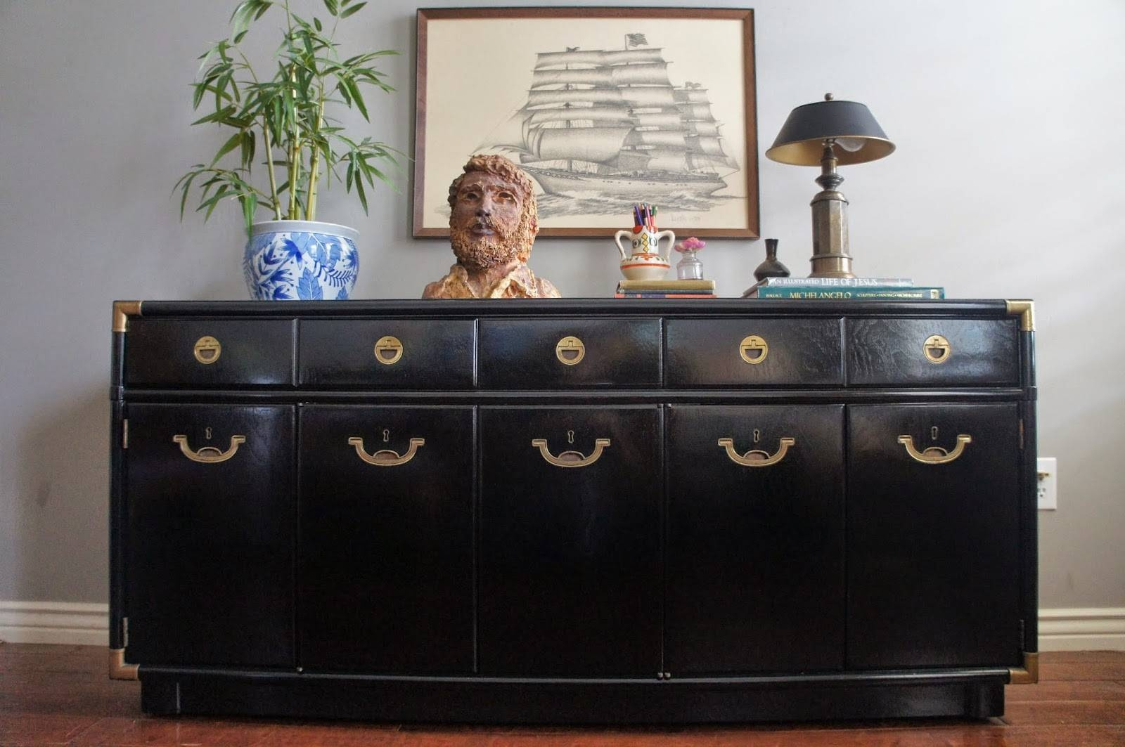 European Paint Finishes: Mid-Century Modern, Glossy Black regarding High Gloss Black Sideboards (Image 11 of 30)