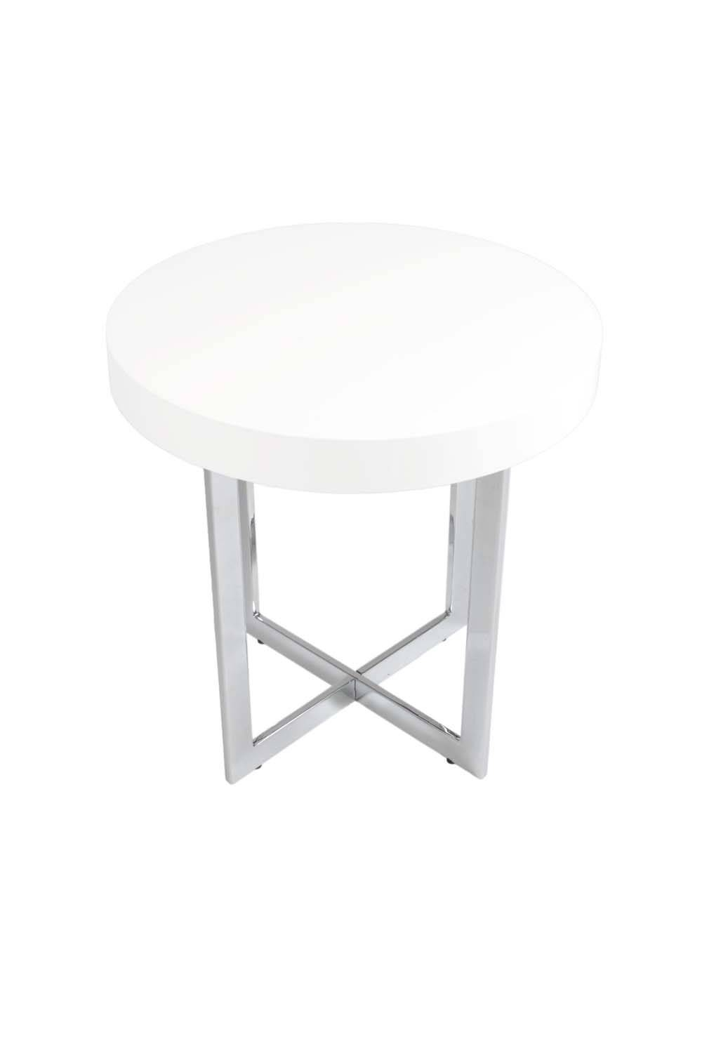 Eurostyle Oliver Round Wood Top Side Table In White Lacquer with regard to White and Chrome Coffee Tables (Image 11 of 30)