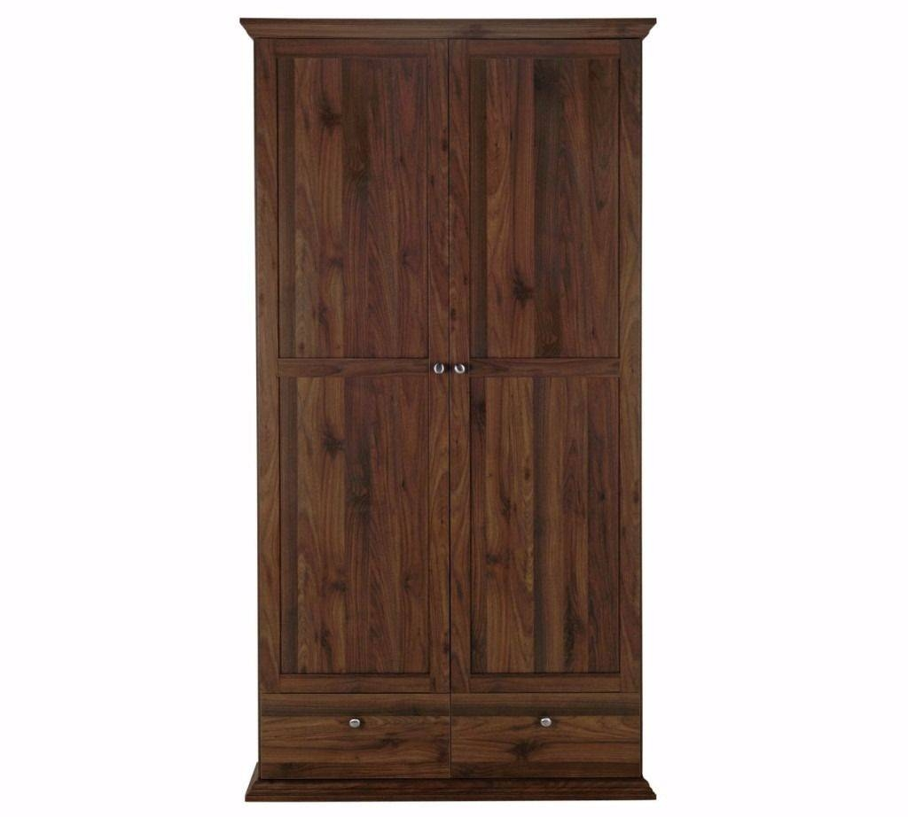 Ex Display Large Dark Wood Wardrobe. 2 Doors 2 Drawers. Less 1/2 intended for Dark Wood Wardrobe With Drawers (Image 13 of 30)