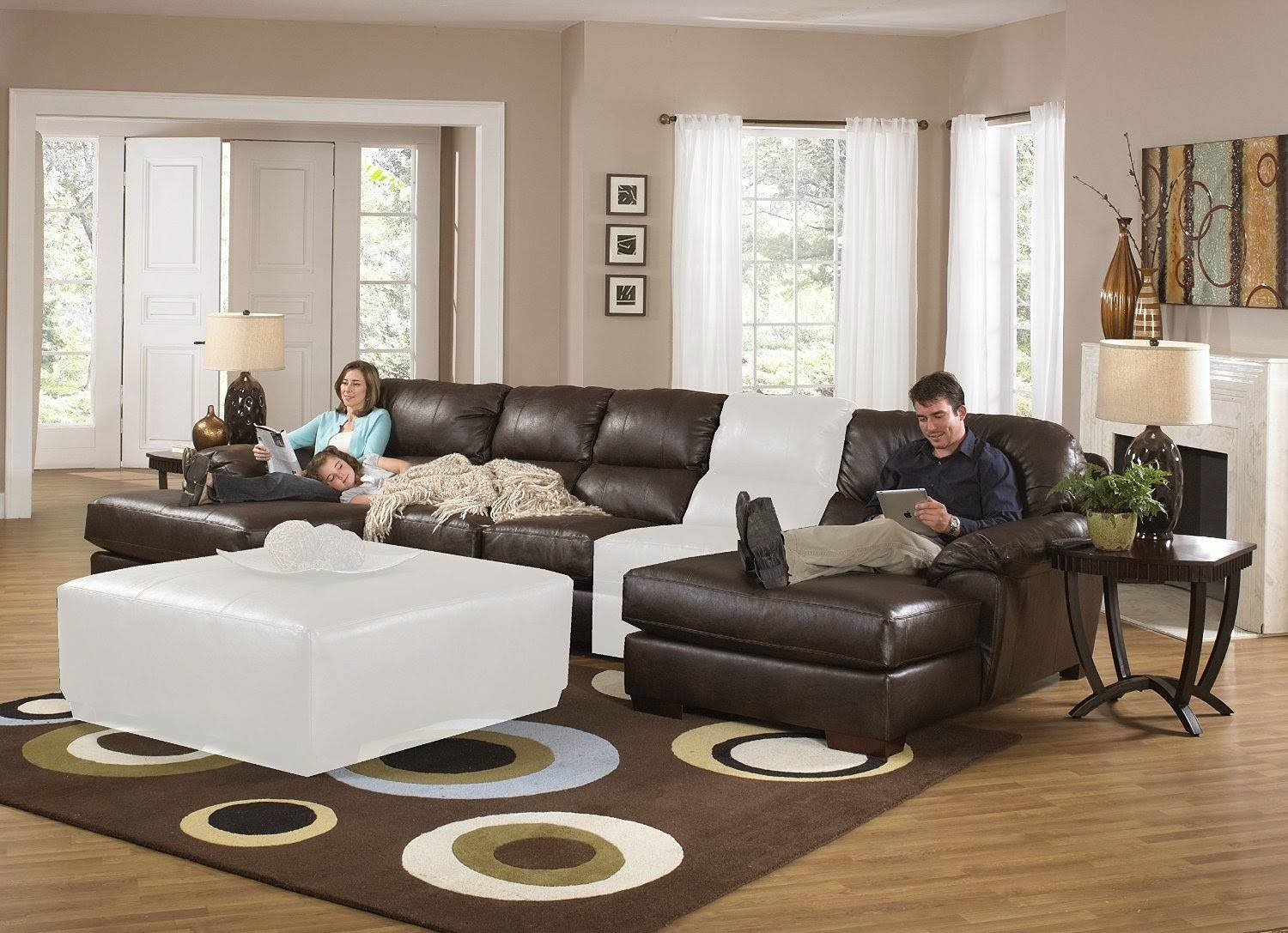 Excellent Sectional Sofas With Recliners And Sleeper 51 With throughout 6 Piece Leather Sectional Sofa (Image 16 of 30)