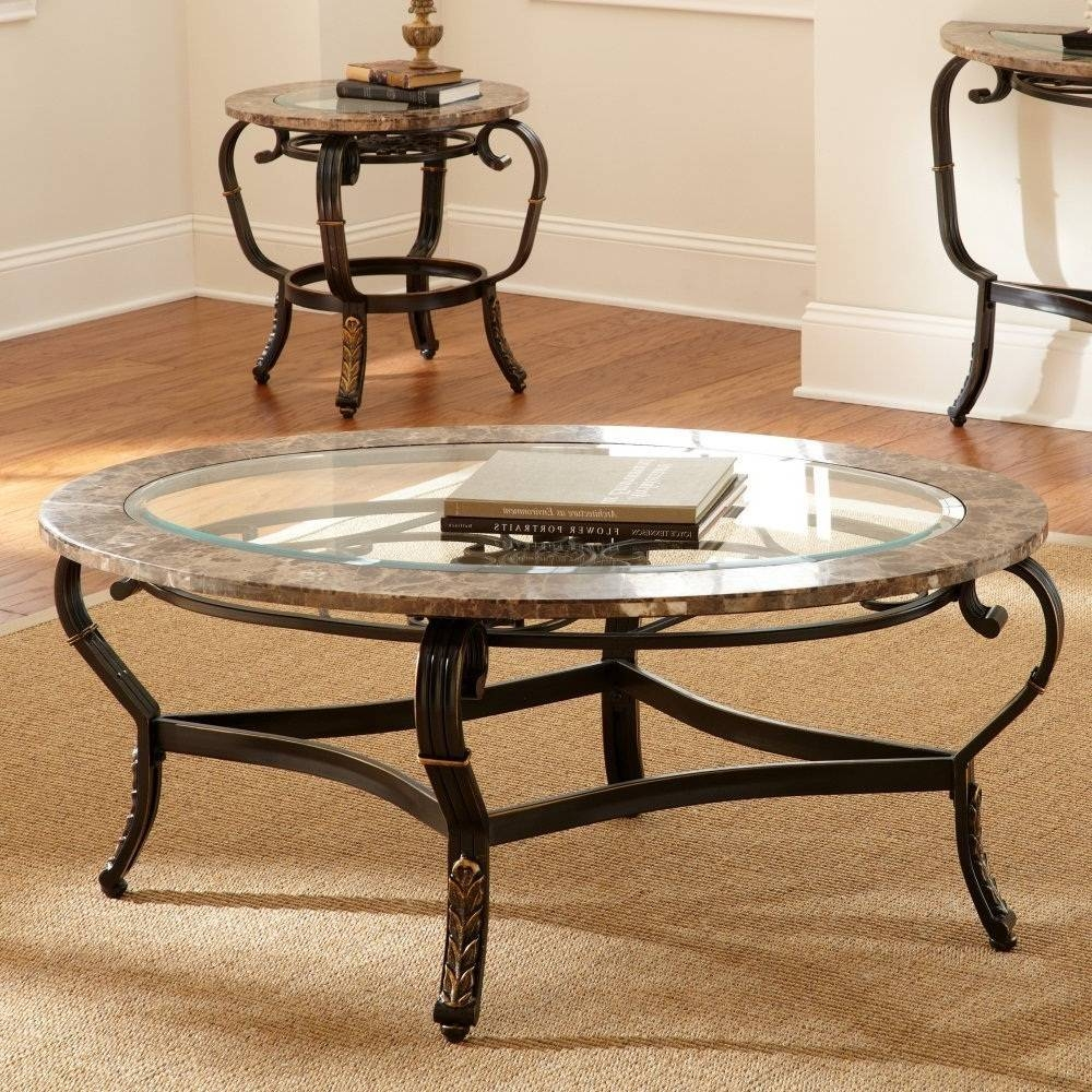 Exciting Round Metal Coffee Table Base With Wooden And Glass Top inside Round Glass and Wood Coffee Tables (Image 8 of 30)