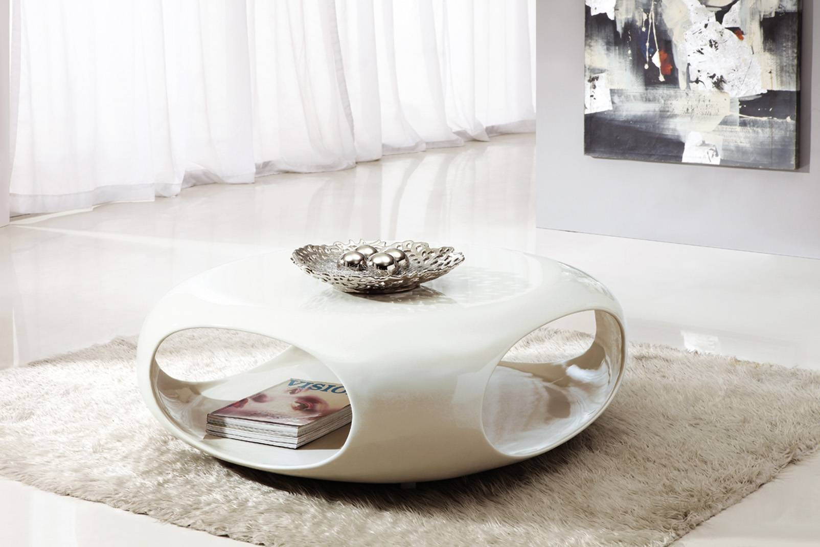 Exotic Round White Coffee Table Modern With Shelves And Storage pertaining to Contemporary Coffee Table (Image 24 of 30)