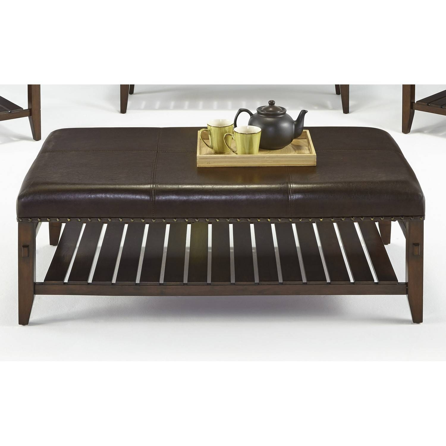 Exteriors ~ Stunning Rectangle Leather Ottoman Coffee Table within Coffee Tables With Shelves (Image 16 of 30)