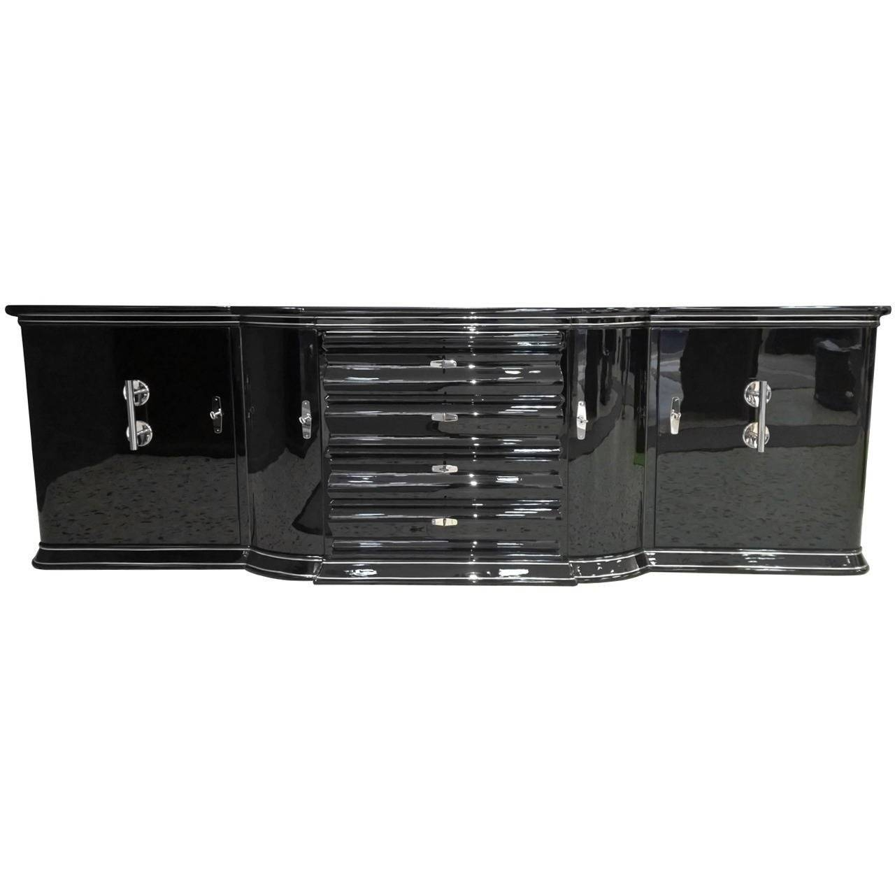 Extra Large Art Deco Sideboard In High Gloss Black For Sale At 1Stdibs for High Gloss Black Sideboards (Image 12 of 30)