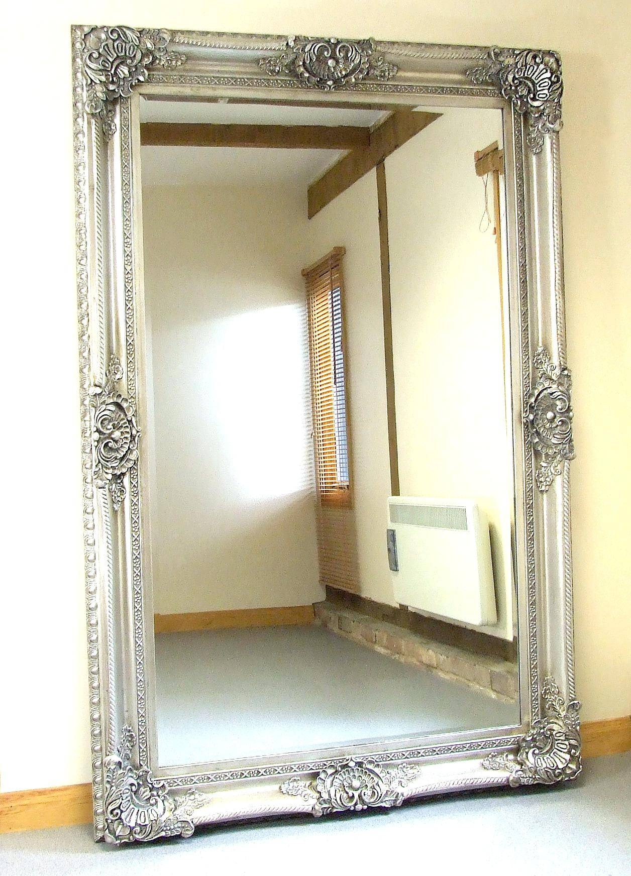 Extra Large Modern Laviana Round Wall Mirror 48 Linked Silver Leaf for Ornate Full Length Mirrors (Image 7 of 25)