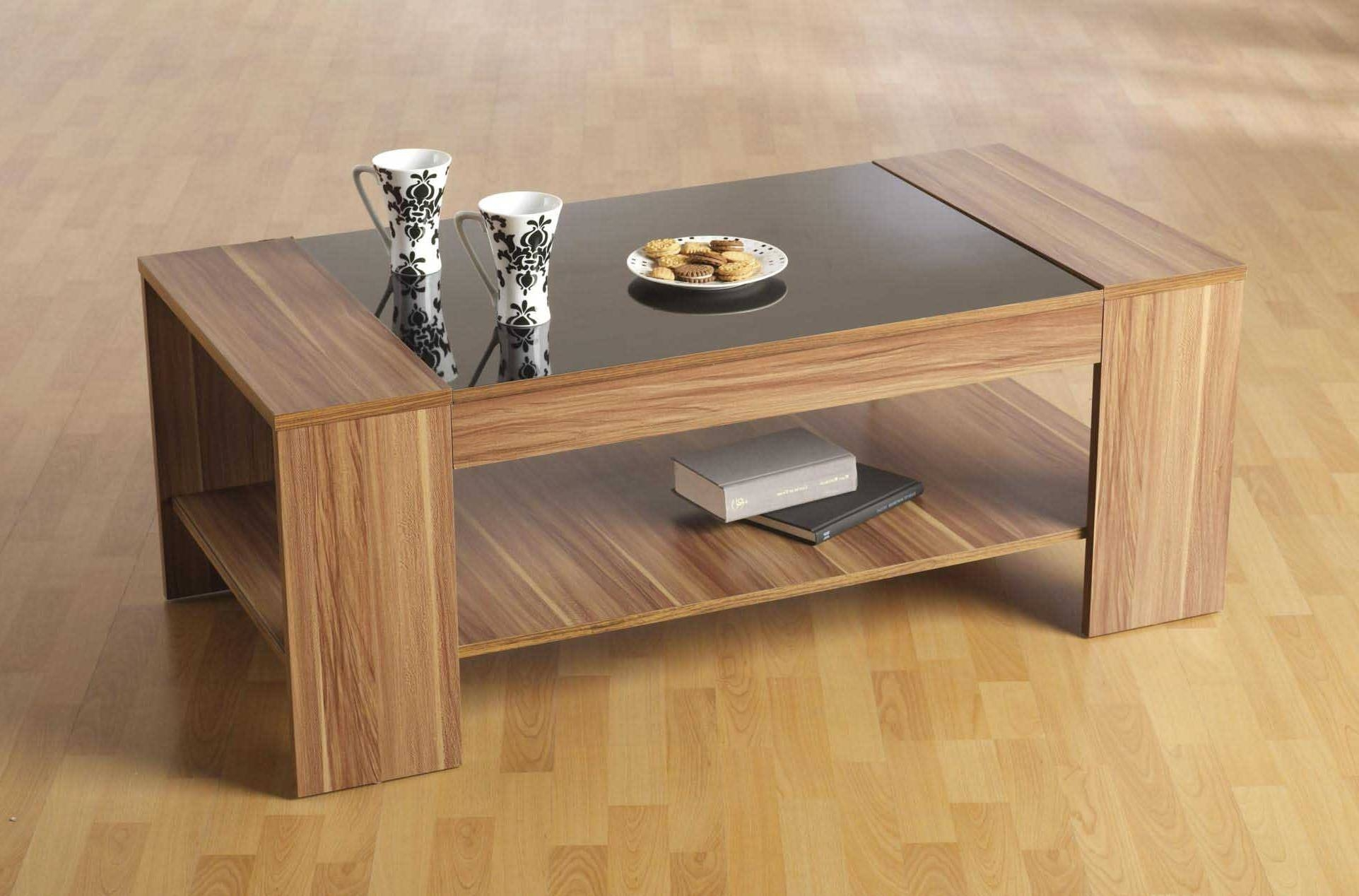 Extraordinary Wooden Coffee Table Designs With Glass Top – Wooden With Regard To Glass Top Storage Coffee Tables (View 22 of 30)