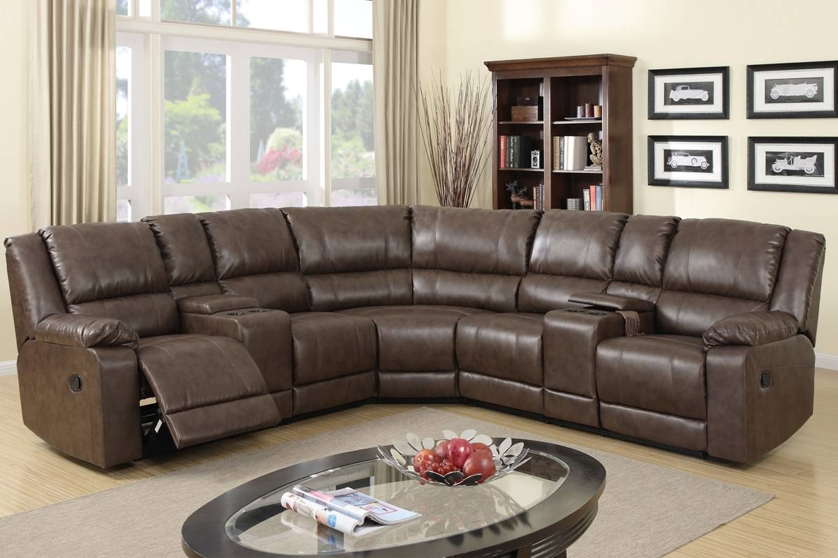 F6701 2 Reclining Sectional with Faux Leather Sectional Sofas (Image 7 of 25)
