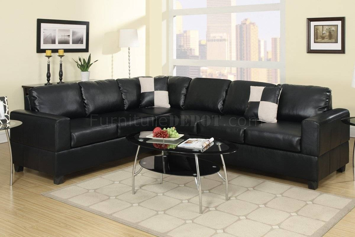 F7630 Sectional Sofa In Black Faux Leatherpoundex with regard to Faux Leather Sectional Sofas (Image 8 of 25)