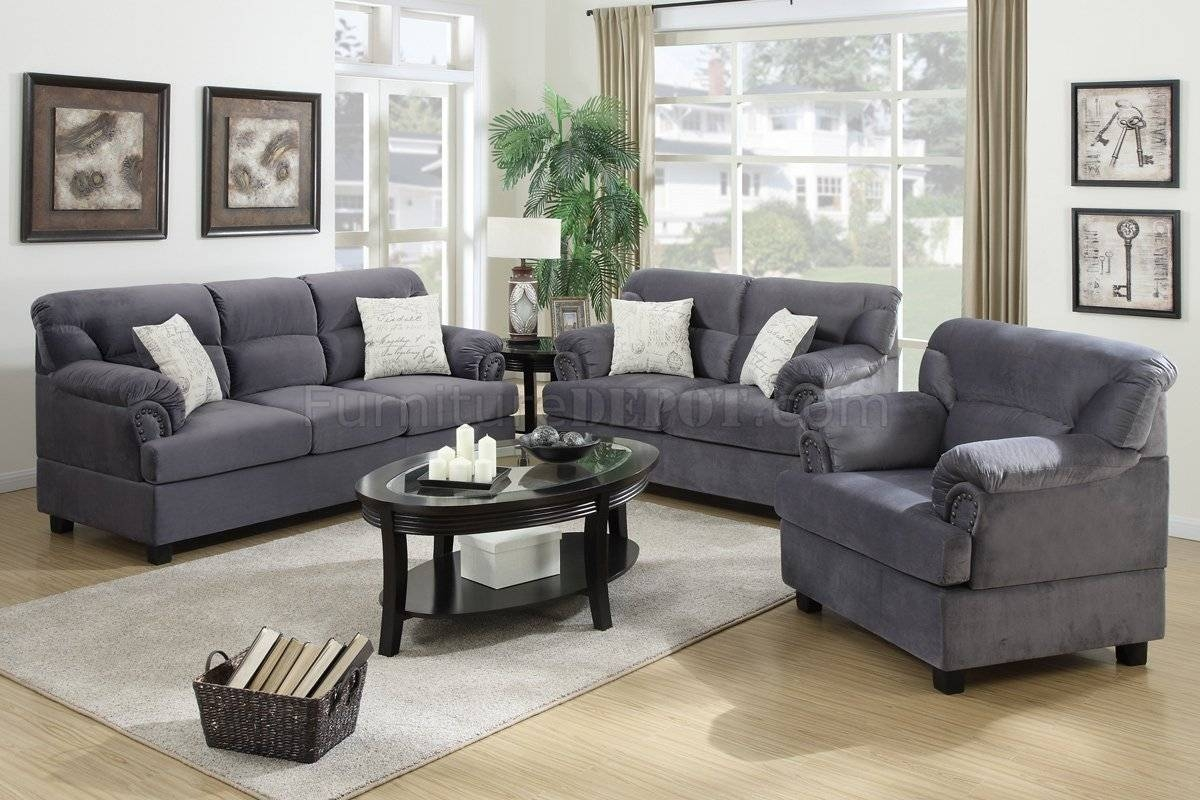 F7915 Sofa, Loveseat & Chair Set In Chocolate Fabricpoundex inside Sofa And Chair Set (Image 17 of 30)