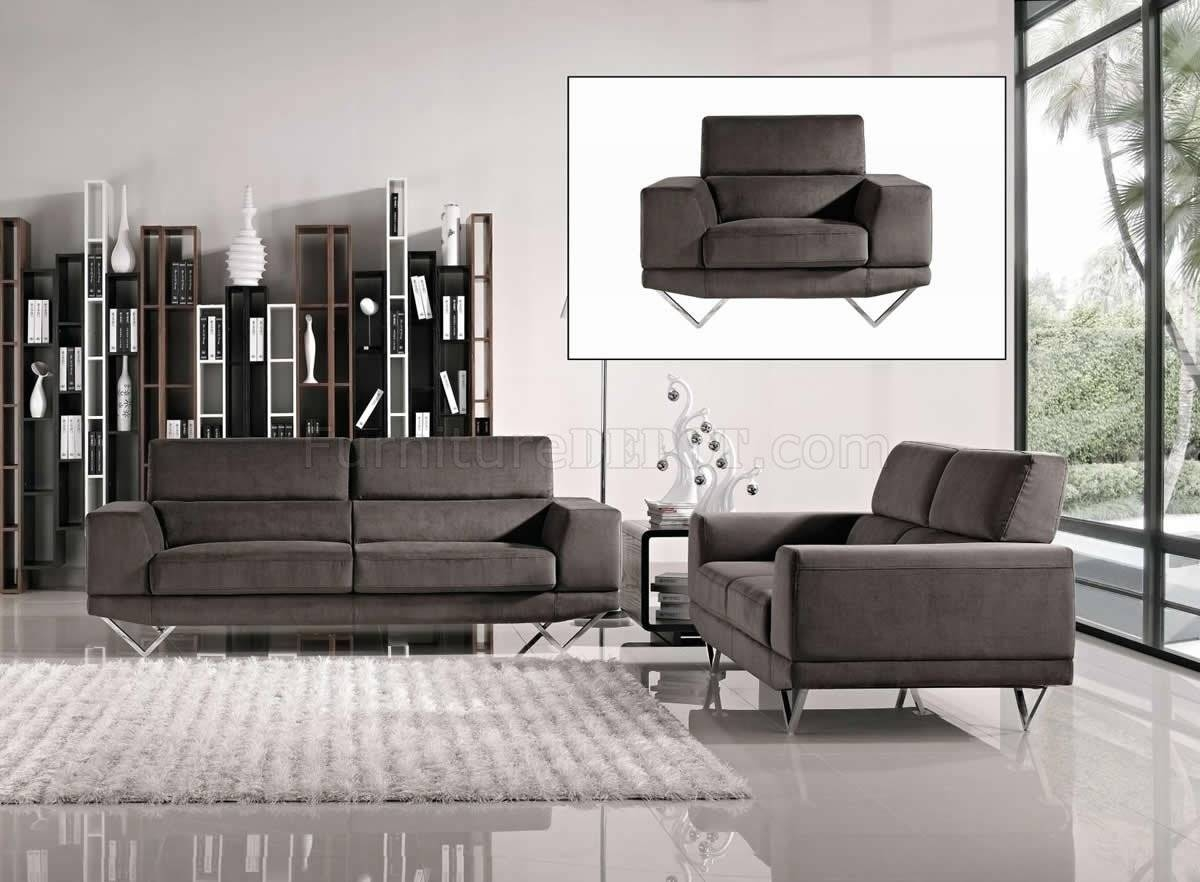 F7916 Sofa, Loveseat & Chair Set In Grey Fabricpoundex With Sofa Loveseat And Chair Set (View 13 of 30)